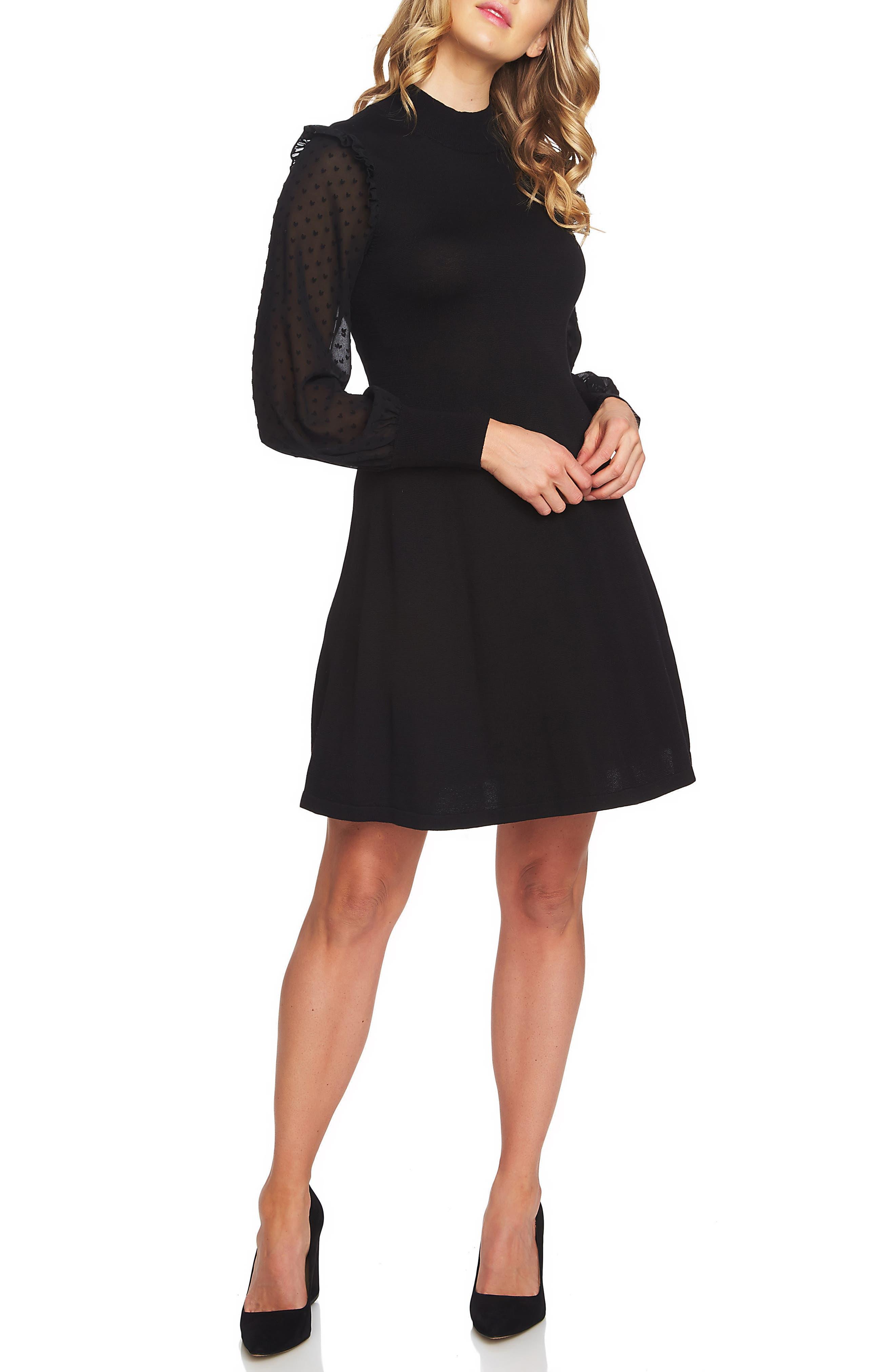 Swiss Dot Sleeve Fit & Flare Knit Dress,                             Alternate thumbnail 3, color,                             001