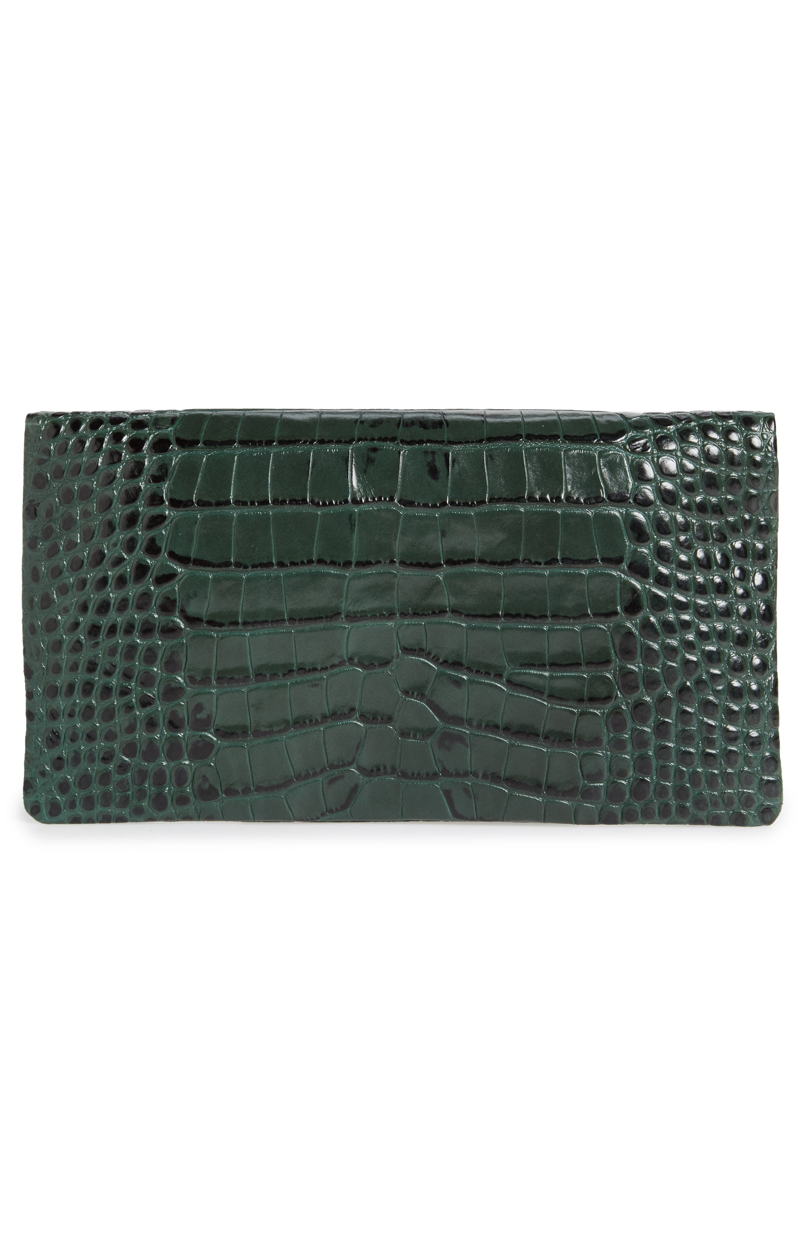 Croc Embossed Leather Foldover Clutch,                             Alternate thumbnail 3, color,                             300