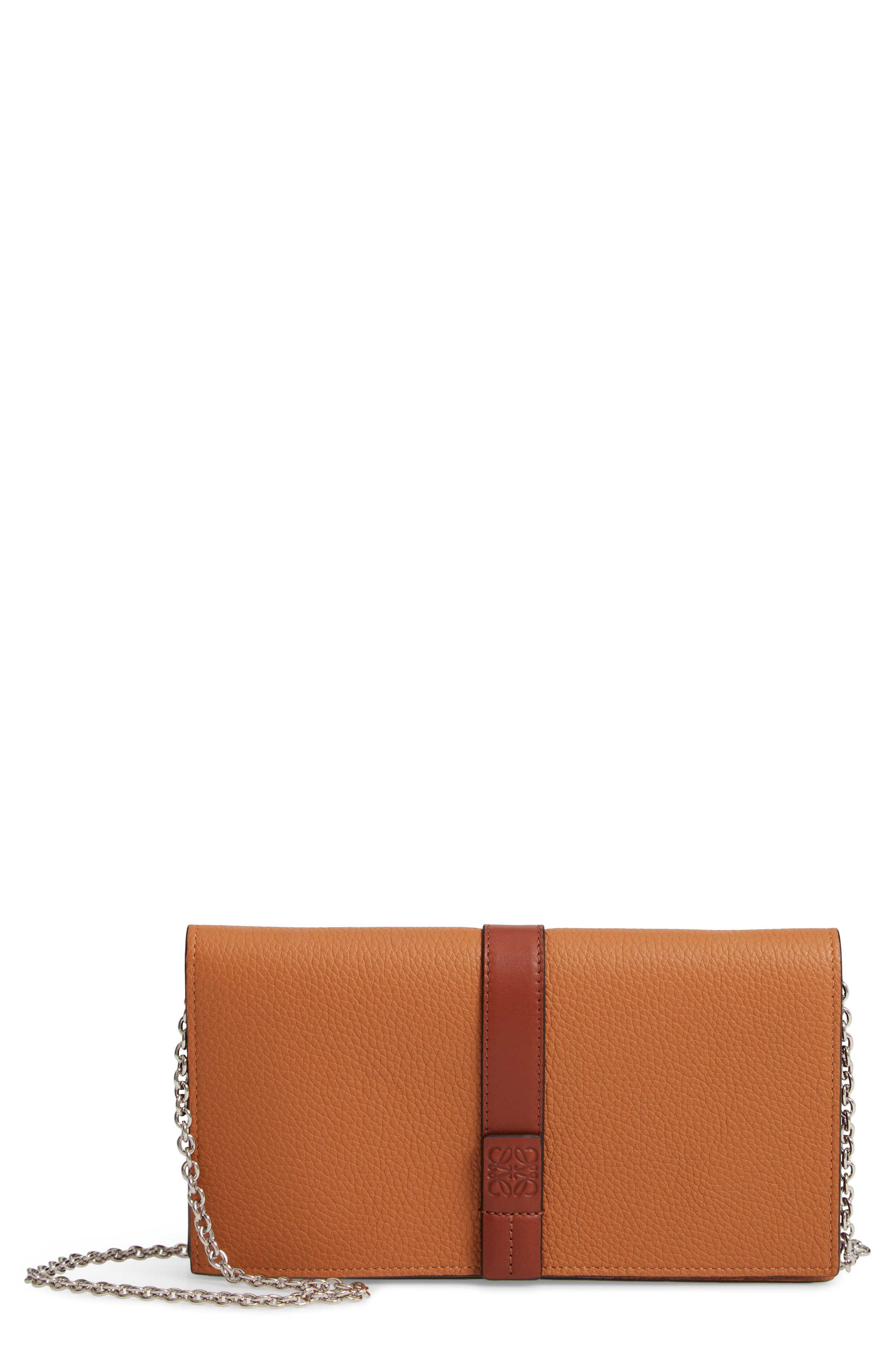 Leather Wallet on a Chain,                             Main thumbnail 1, color,                             LIGHT CARAMEL/ PECAN
