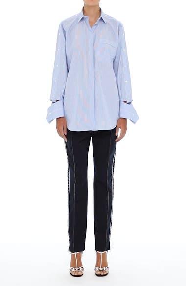 Cutaway Sleeve Cotton Poplin Shirt, video thumbnail