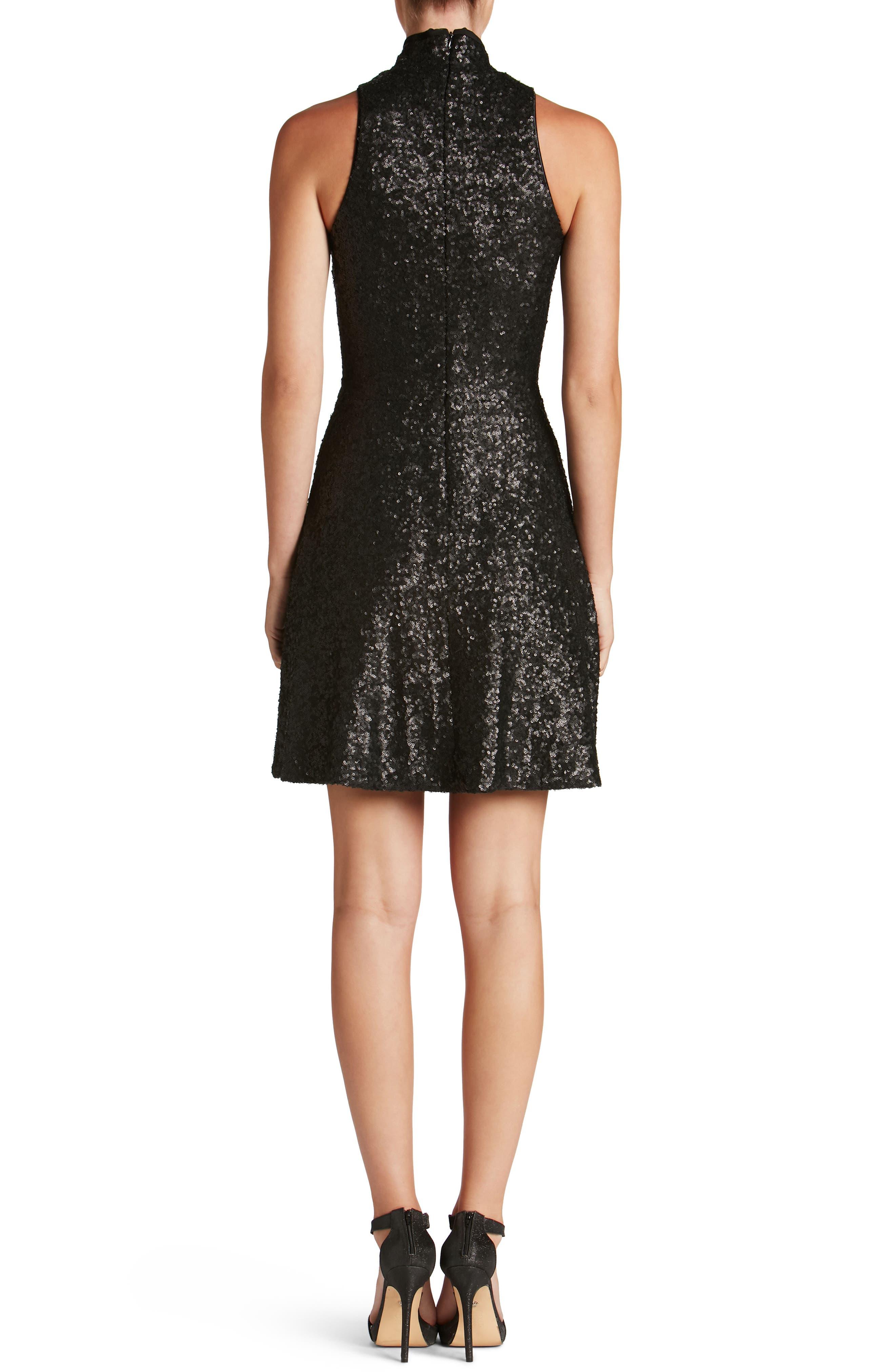 Stevie Sequin Fit & Flare Dress,                             Alternate thumbnail 2, color,                             018