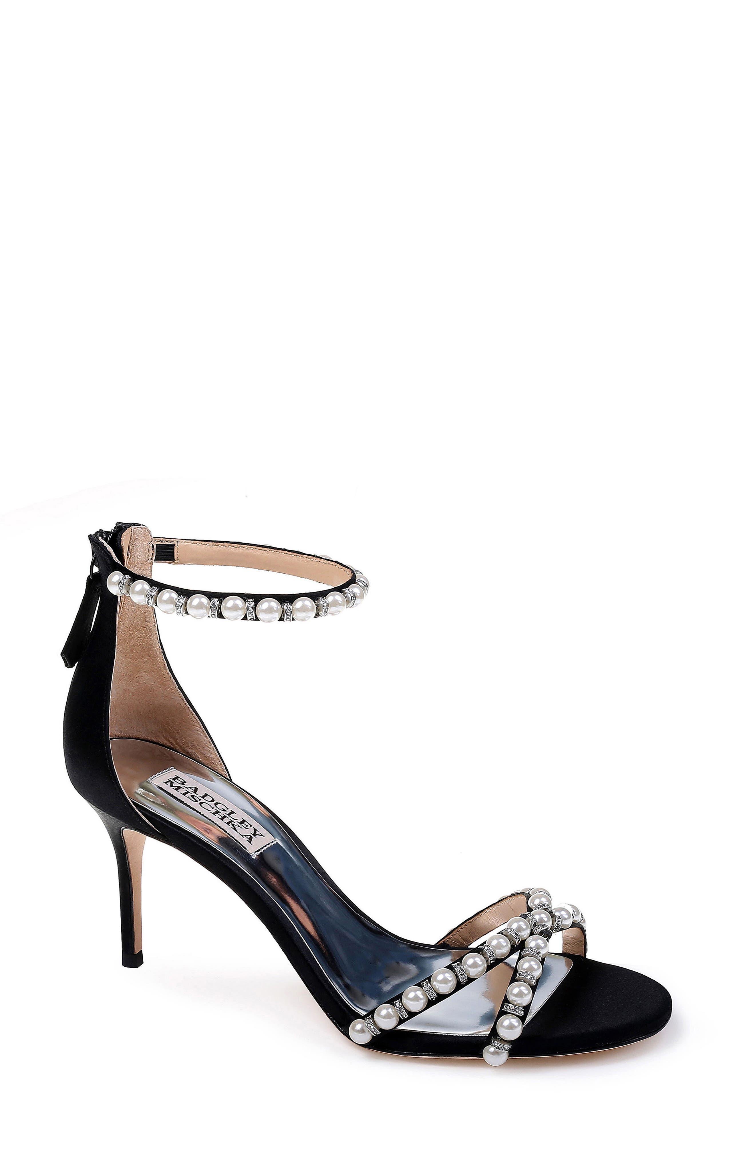 Badgley Mischka Hannah Embellished Ankle Strap Sandal- Black