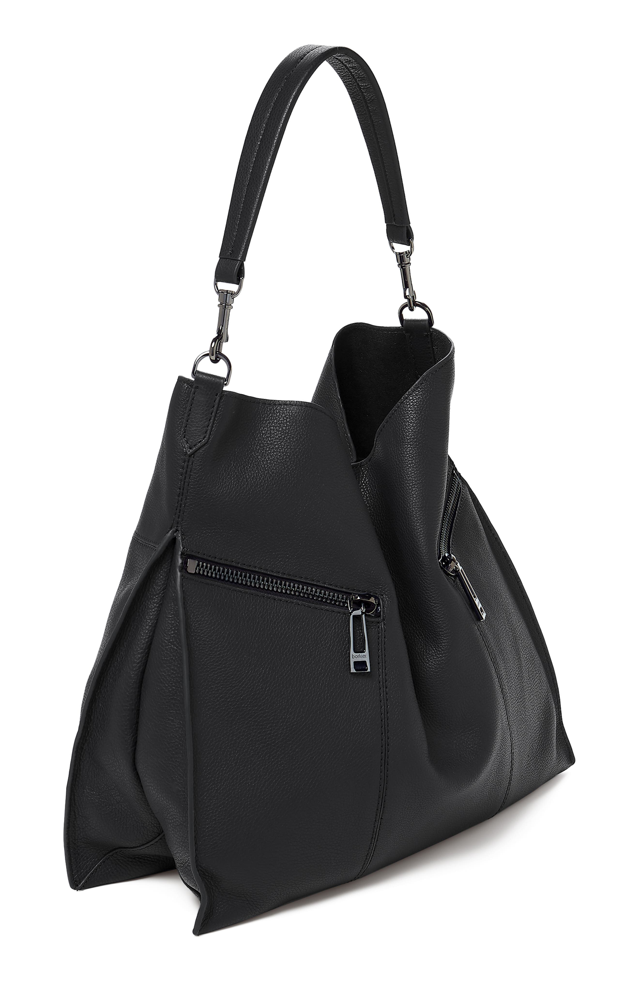 Trigger Pebbled Leather Hobo,                             Alternate thumbnail 4, color,                             BLACK