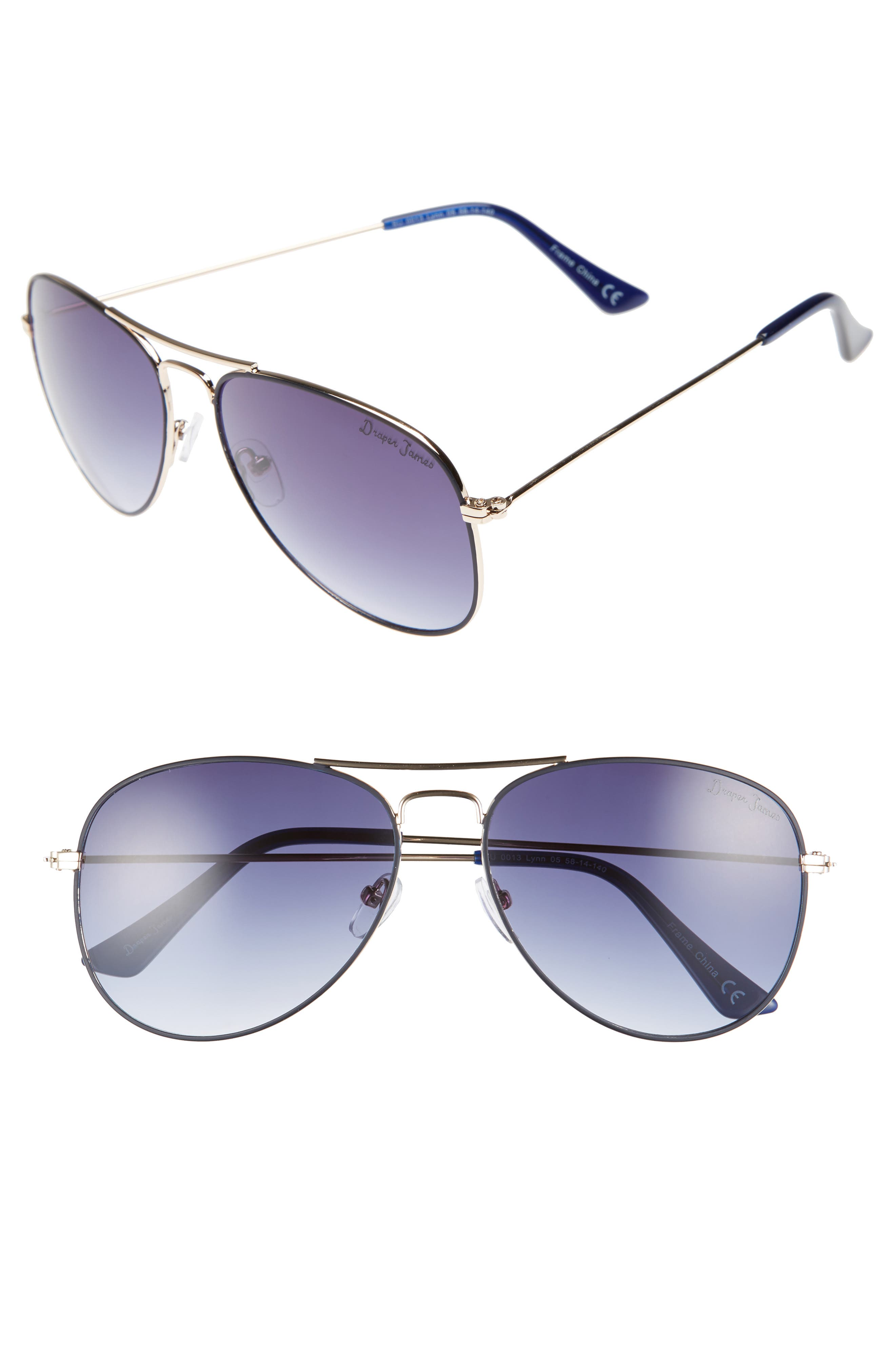 58mm Gradient Aviator Sunglasses,                         Main,                         color,