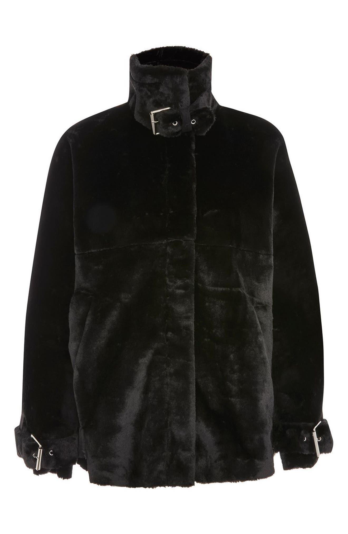 Faux Fur Buckle Biker Jacket,                             Alternate thumbnail 4, color,                             001