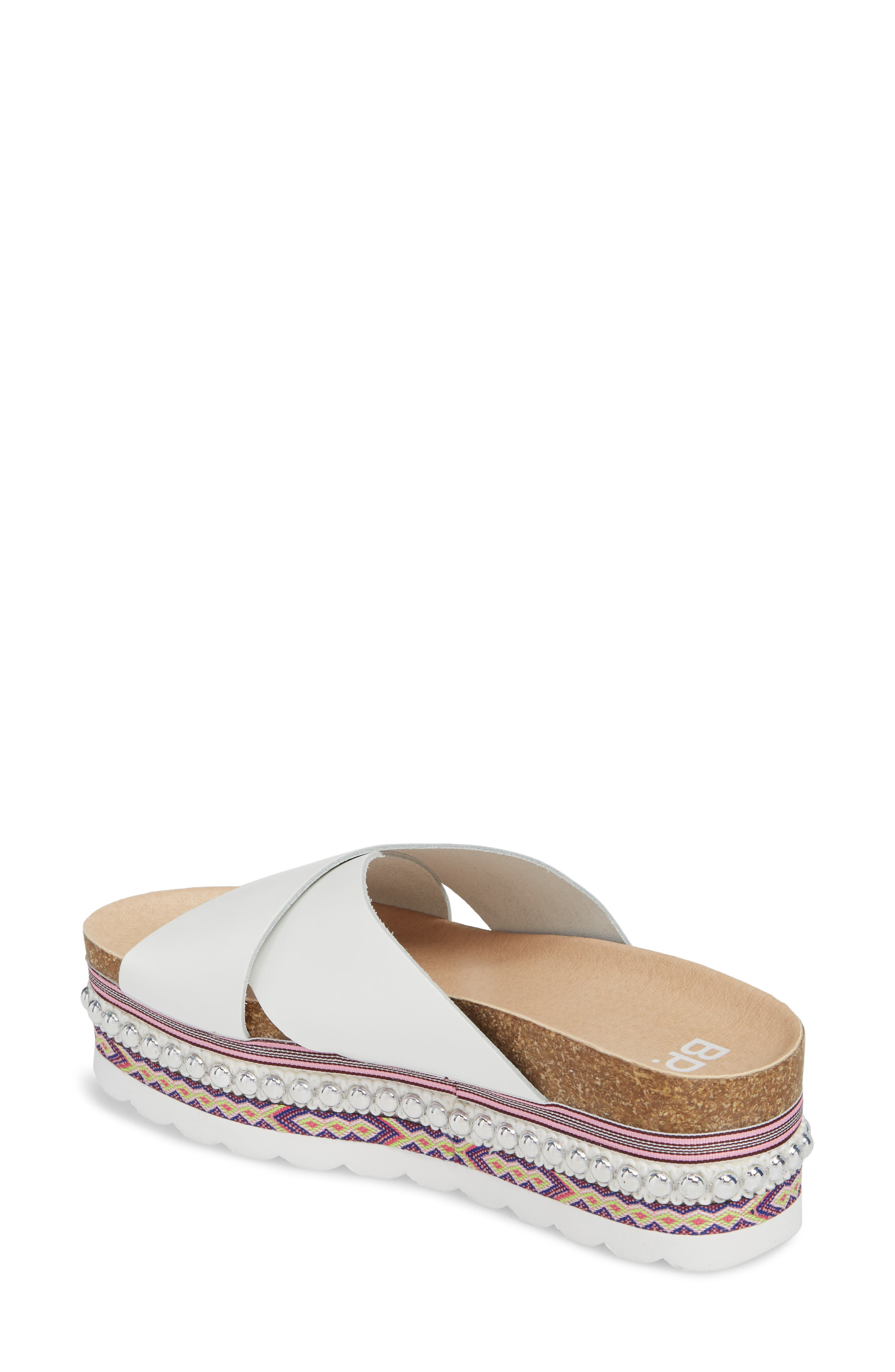 Torri Platform Slide Sandal,                             Alternate thumbnail 2, color,                             WHITE LEATHER