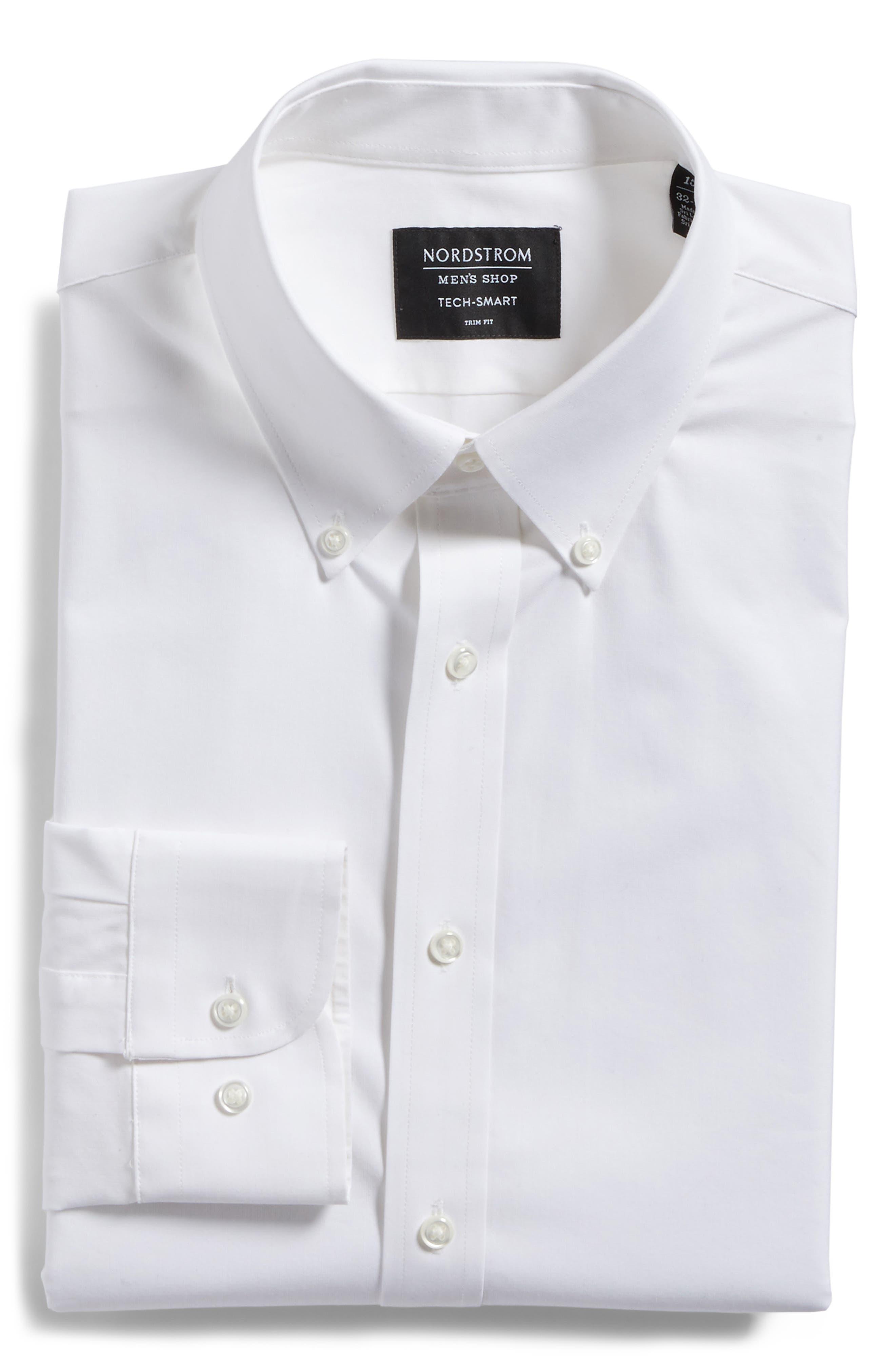 Tech-Smart Trim Fit Stretch Pinpoint Dress Shirt,                             Alternate thumbnail 3, color,                             WHITE