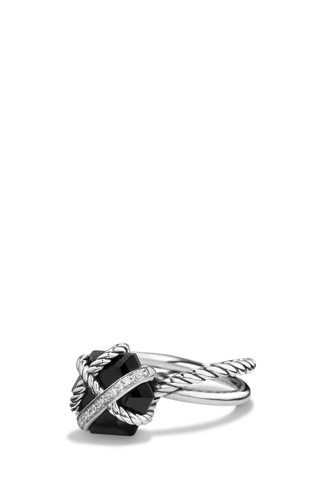 Cable Wrap Ring with Semiprecious Stone andDiamonds,                             Main thumbnail 1, color,                             BLACK ONYX