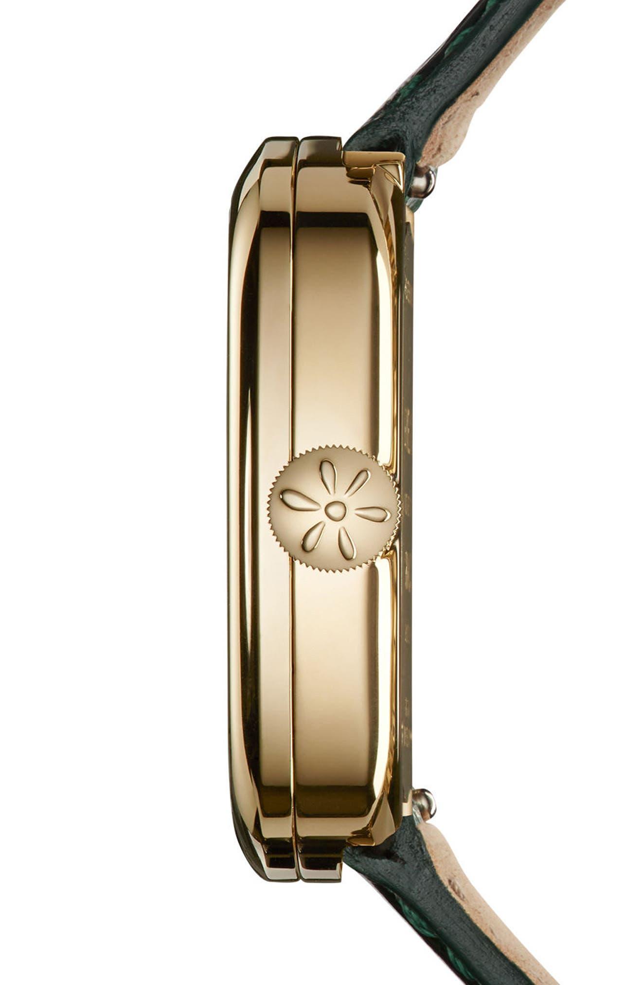 The Eppie Sneed Mini Lizardskin Strap Watch, 32mm,                             Alternate thumbnail 3, color,                             GREEN/ MOP MALACHITE/ GOLD