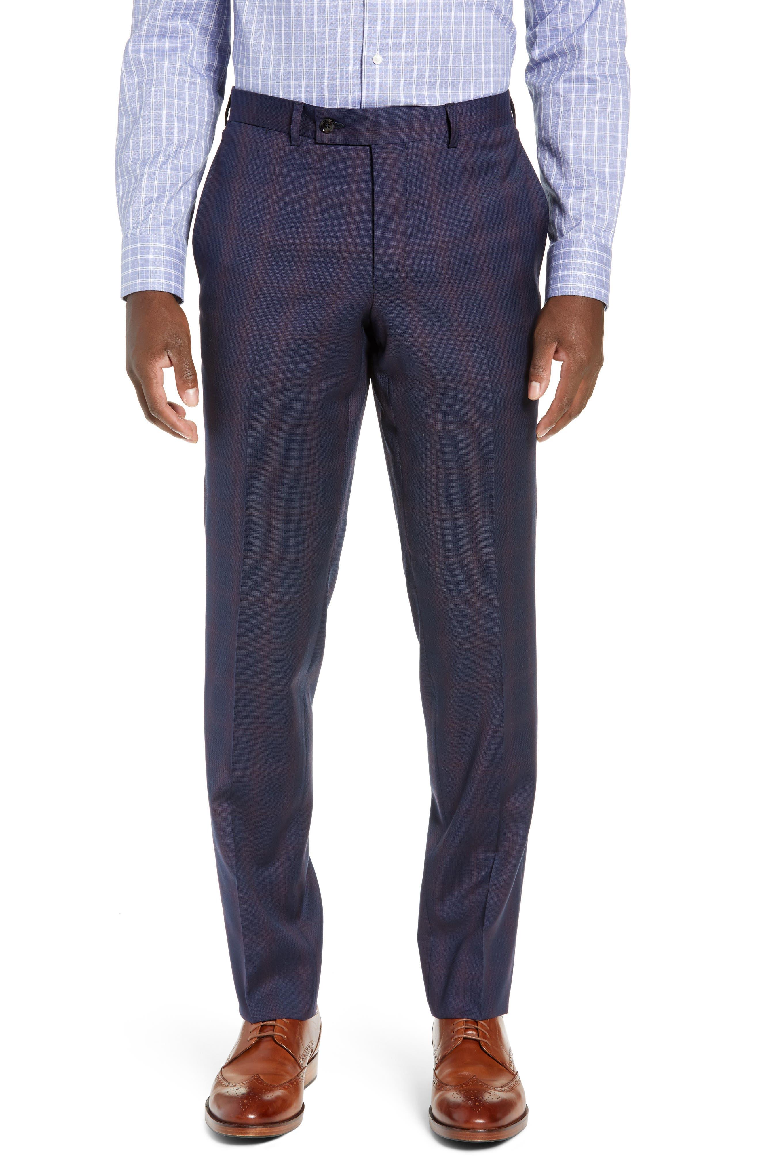 TED BAKER LONDON,                             Roger Slim Fit Plaid Wool Suit,                             Alternate thumbnail 6, color,                             NAVY