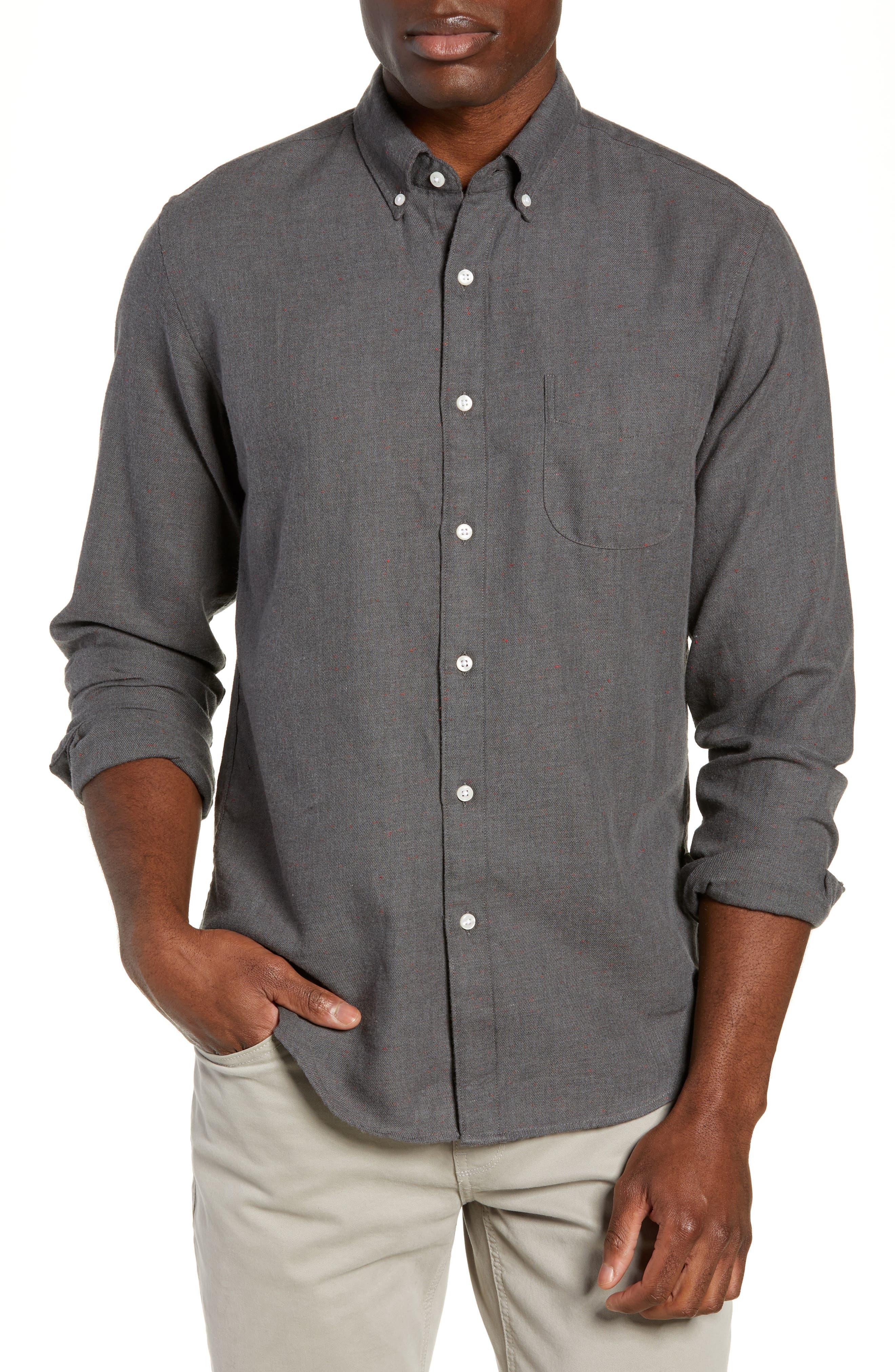 J.crew Slim Fit Neppy Twill Sport Shirt, Grey