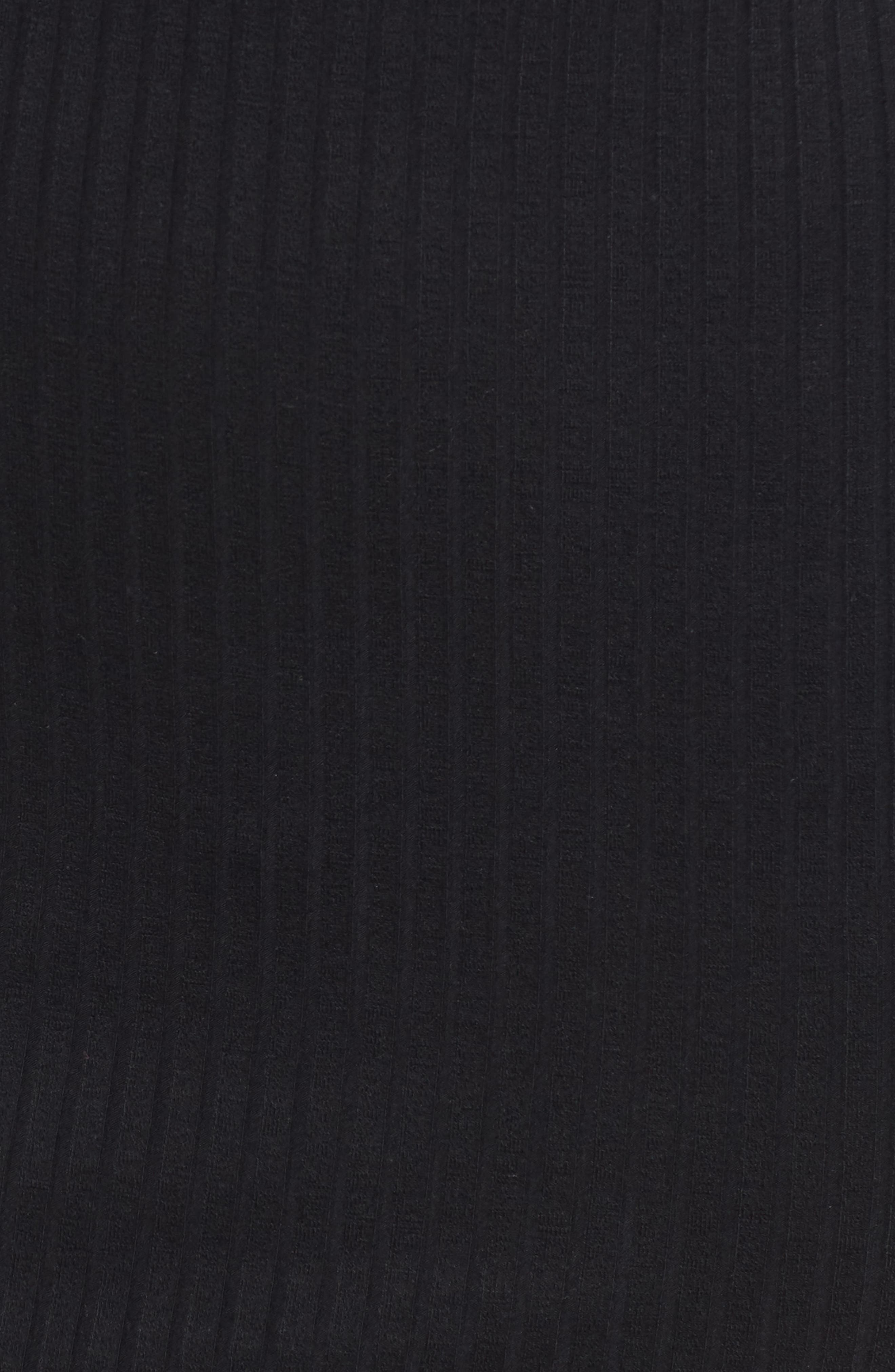 Ribbed Henley Midi Dress,                             Alternate thumbnail 7, color,                             BLACK