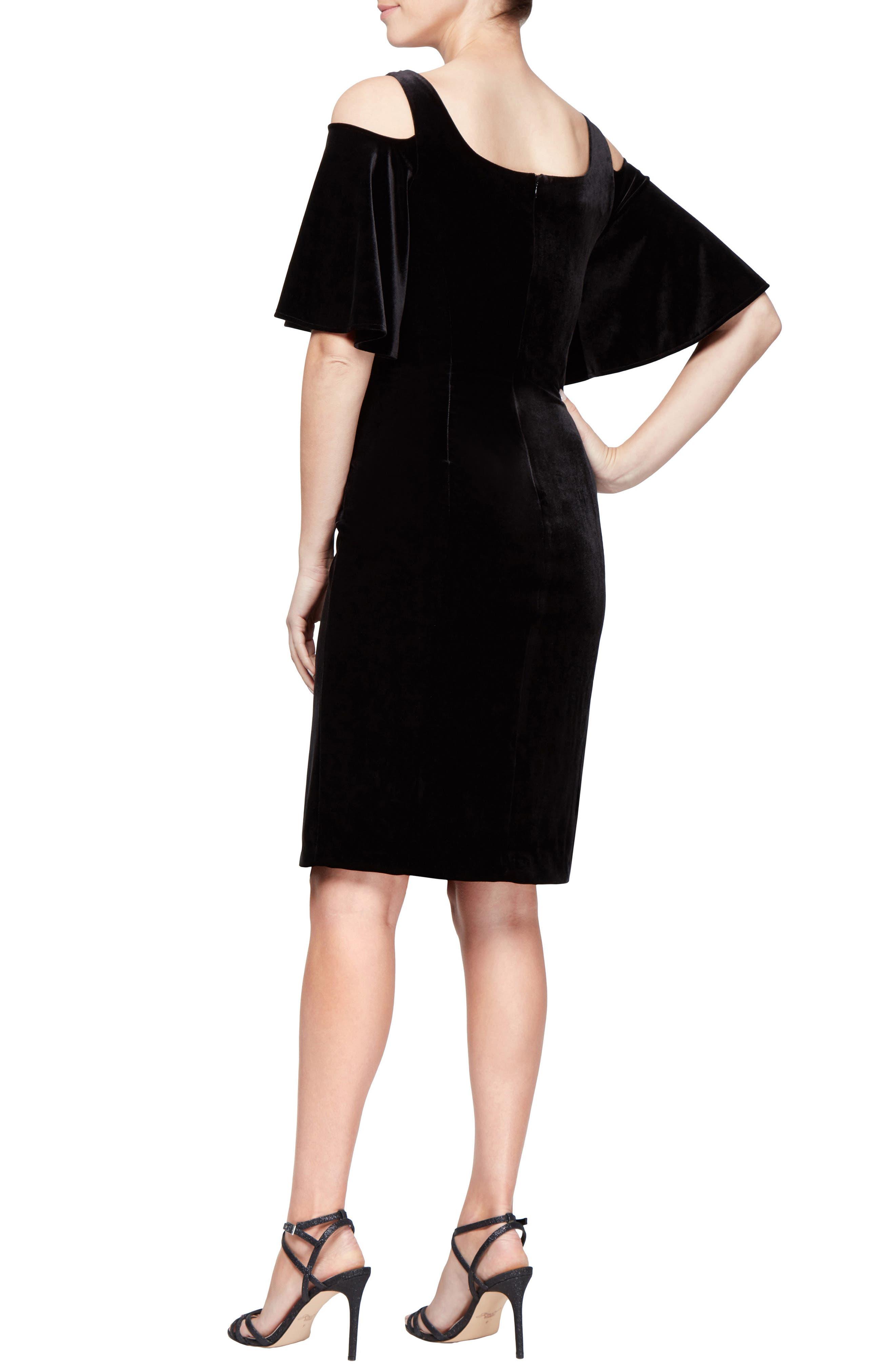 Velvet Cold Shoulder Dress,                             Alternate thumbnail 2, color,                             BLACK