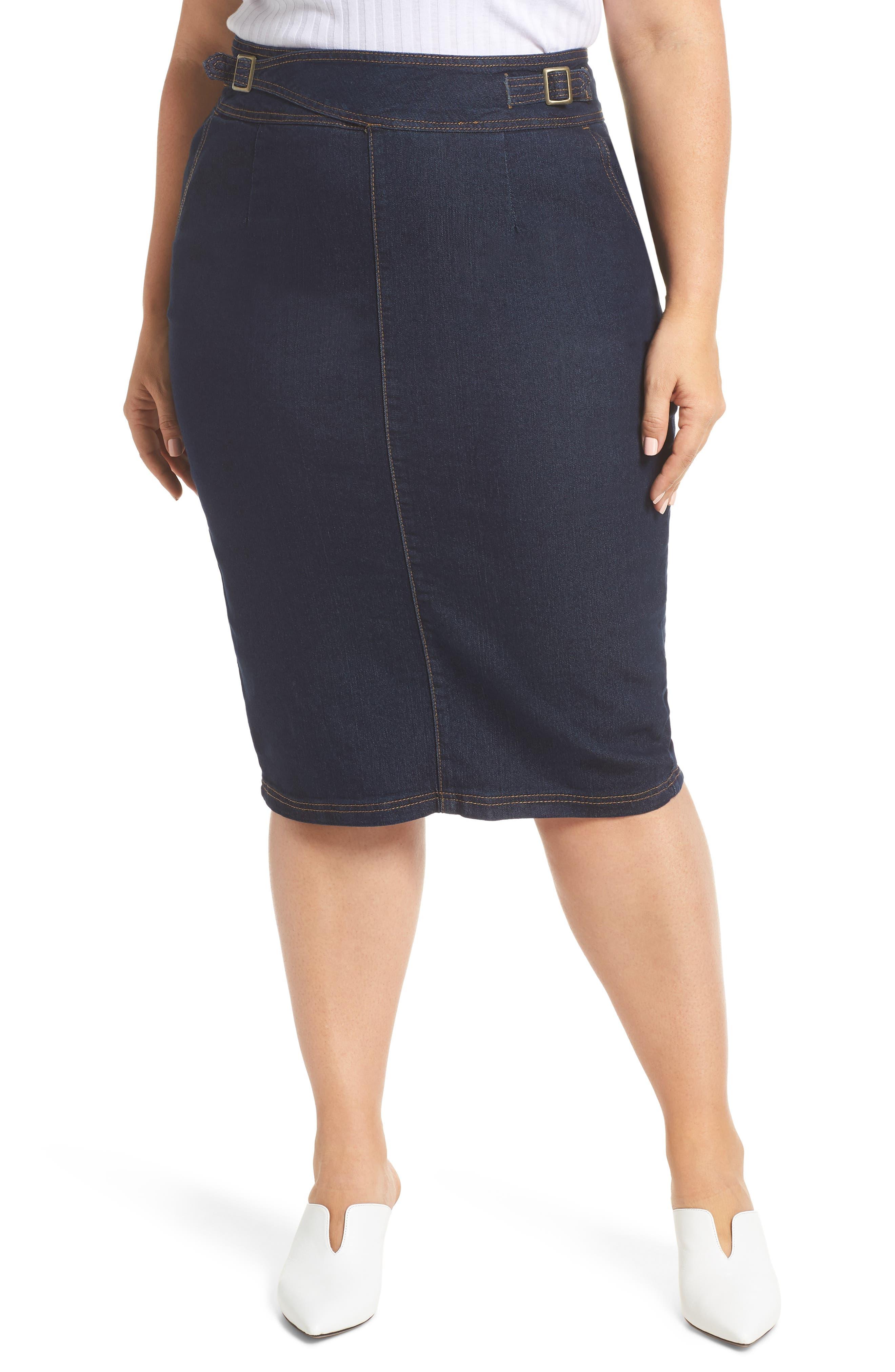 Plus Size Lost Ink Denim Pencil Skirt, Blue