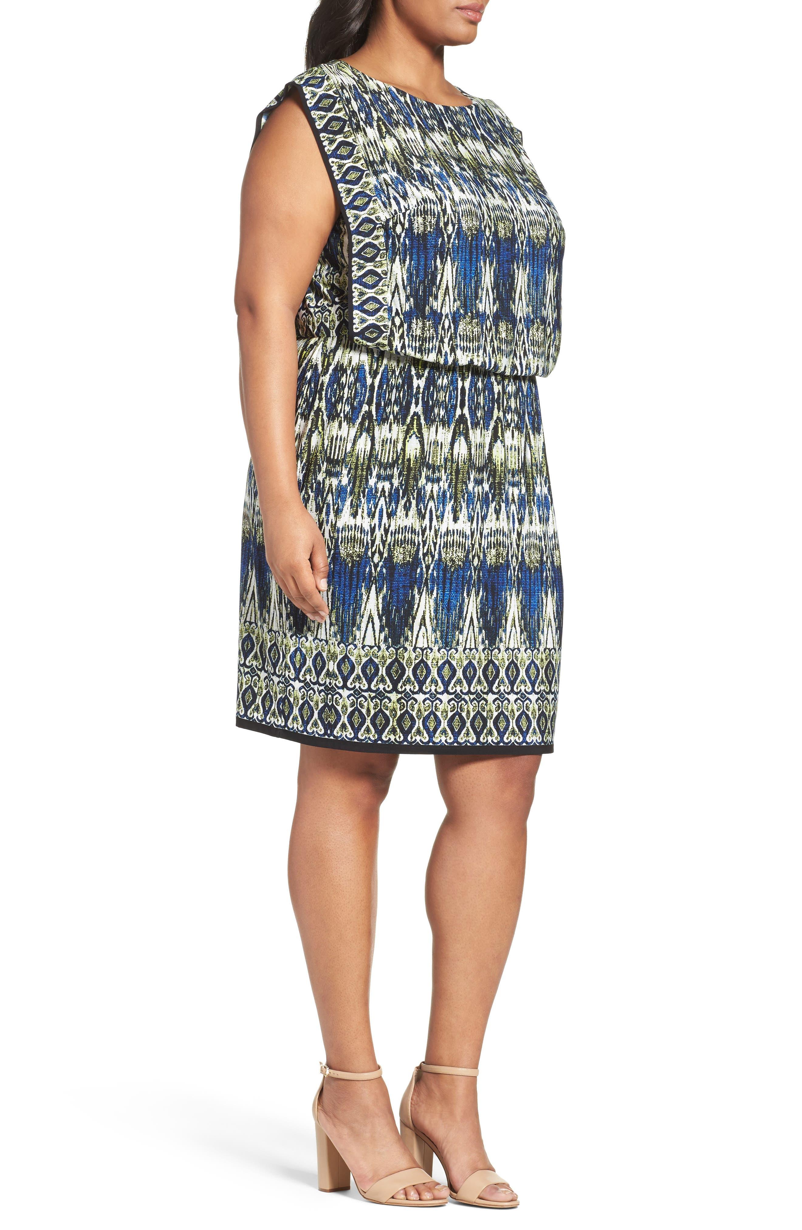 Print Jersey Blouson Dress,                             Alternate thumbnail 3, color,
