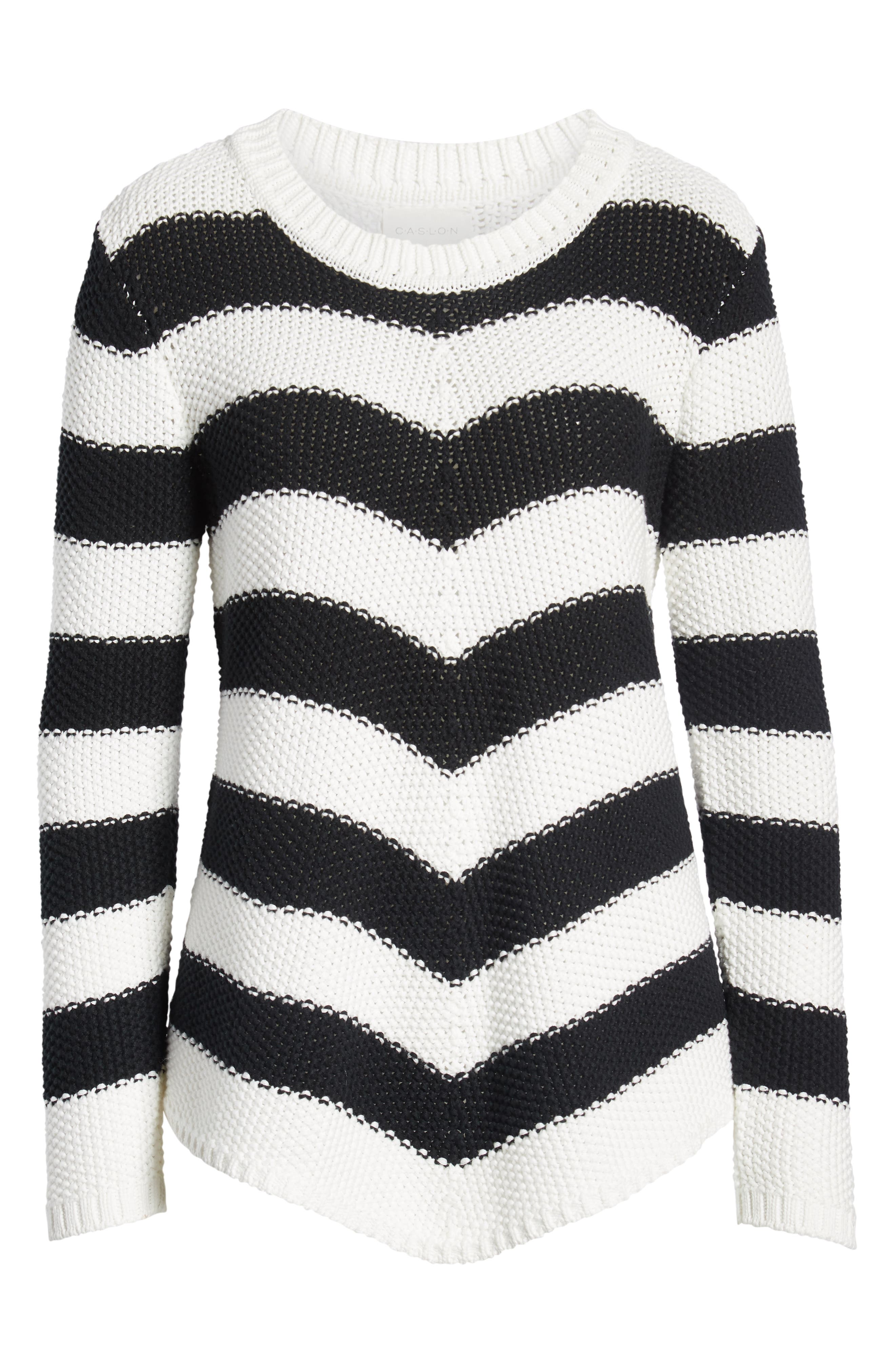 Stitch Stripe Sweater,                             Alternate thumbnail 6, color,                             BLACK- IVORY GABRIELLA STRIPE