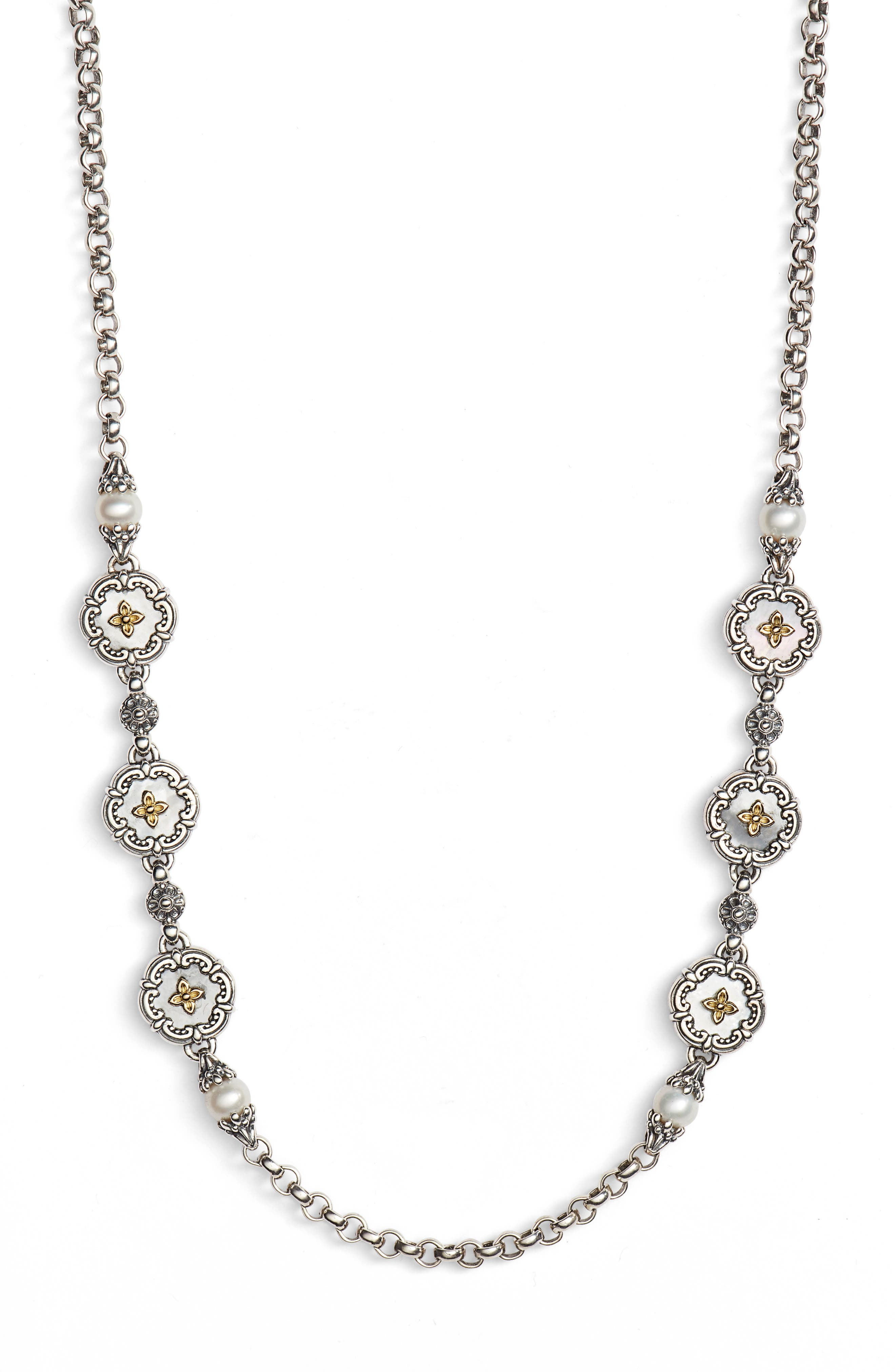 Etched Sterling & Pearl Necklace,                         Main,                         color, 040