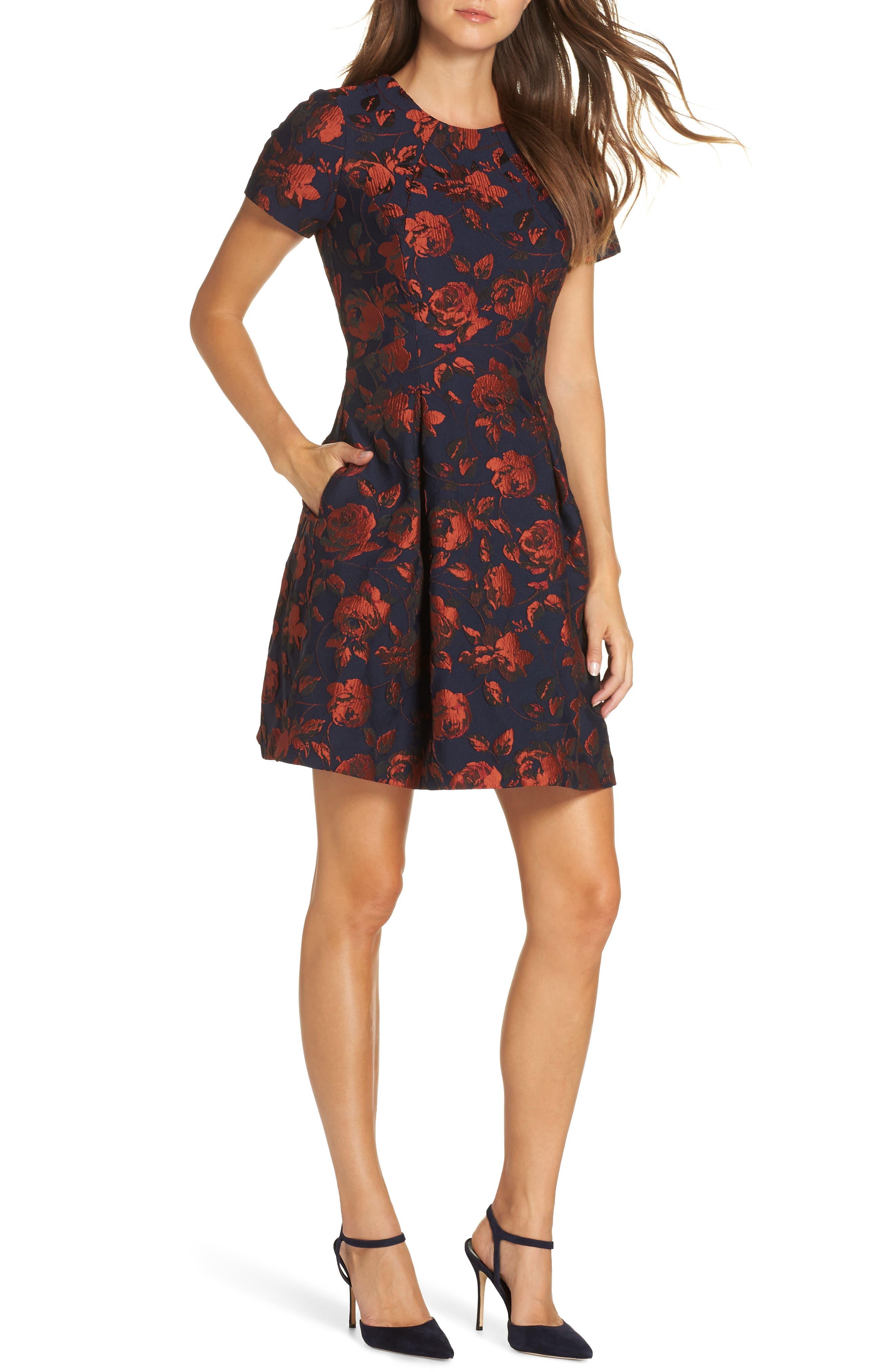 Jacquard Fit & Flare Dress,                             Main thumbnail 1, color,                             NAVY MULTI