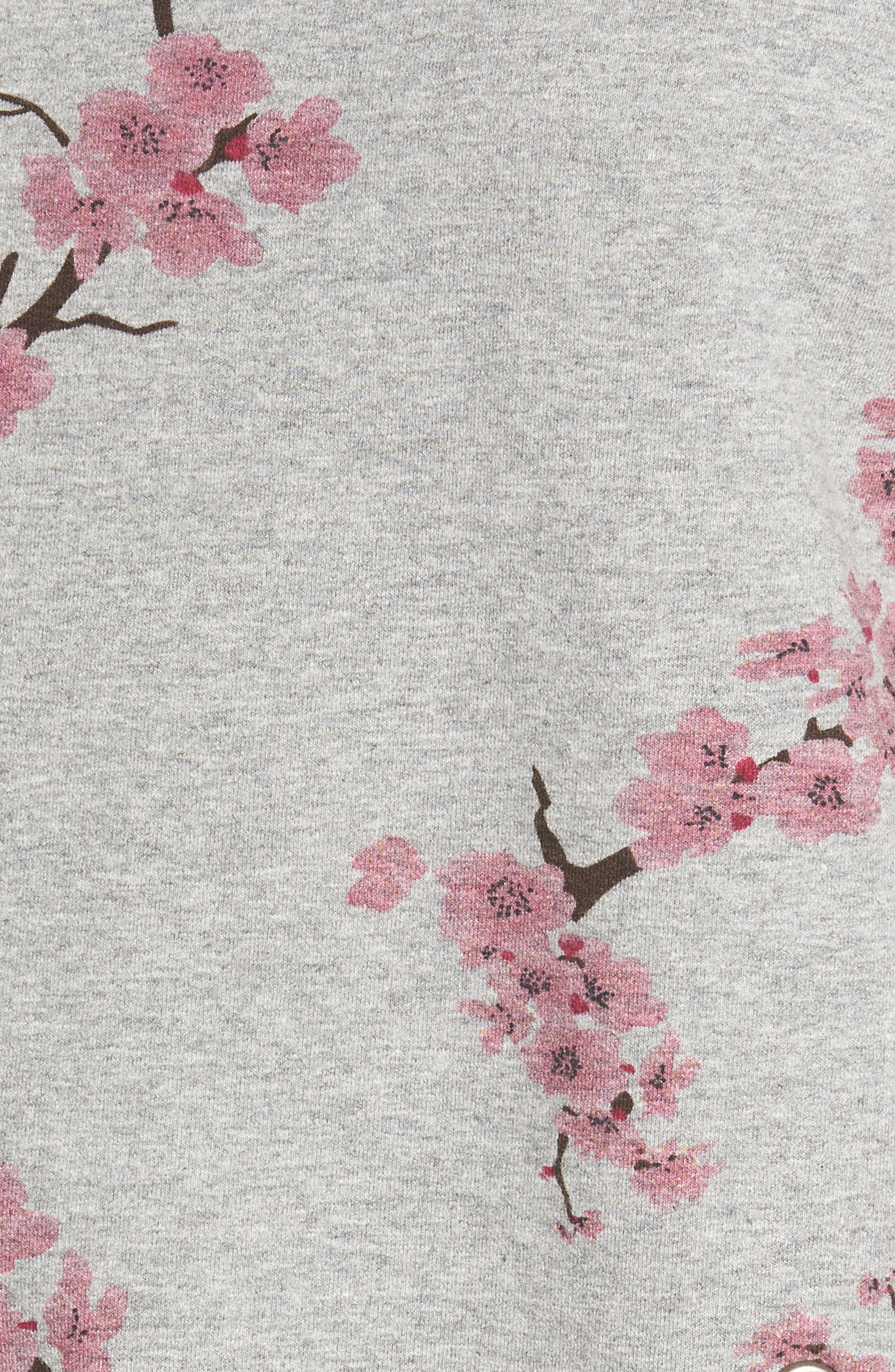 Short Sleeve Lace Up Cherry Blossom Sweatshirt,                             Alternate thumbnail 6, color,