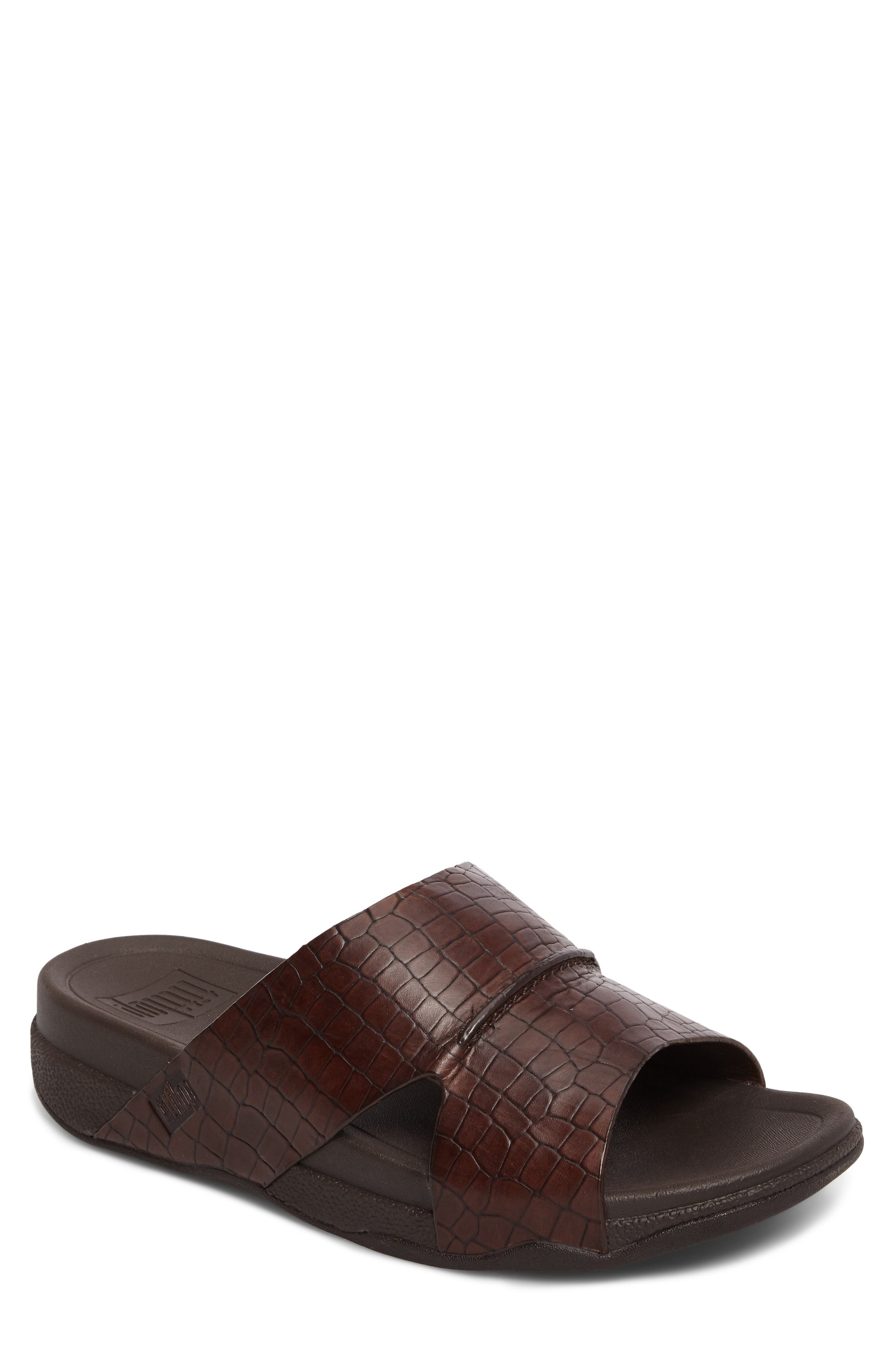 Bando Slide Sandal,                             Main thumbnail 1, color,                             CHOCOLATE LEATHER