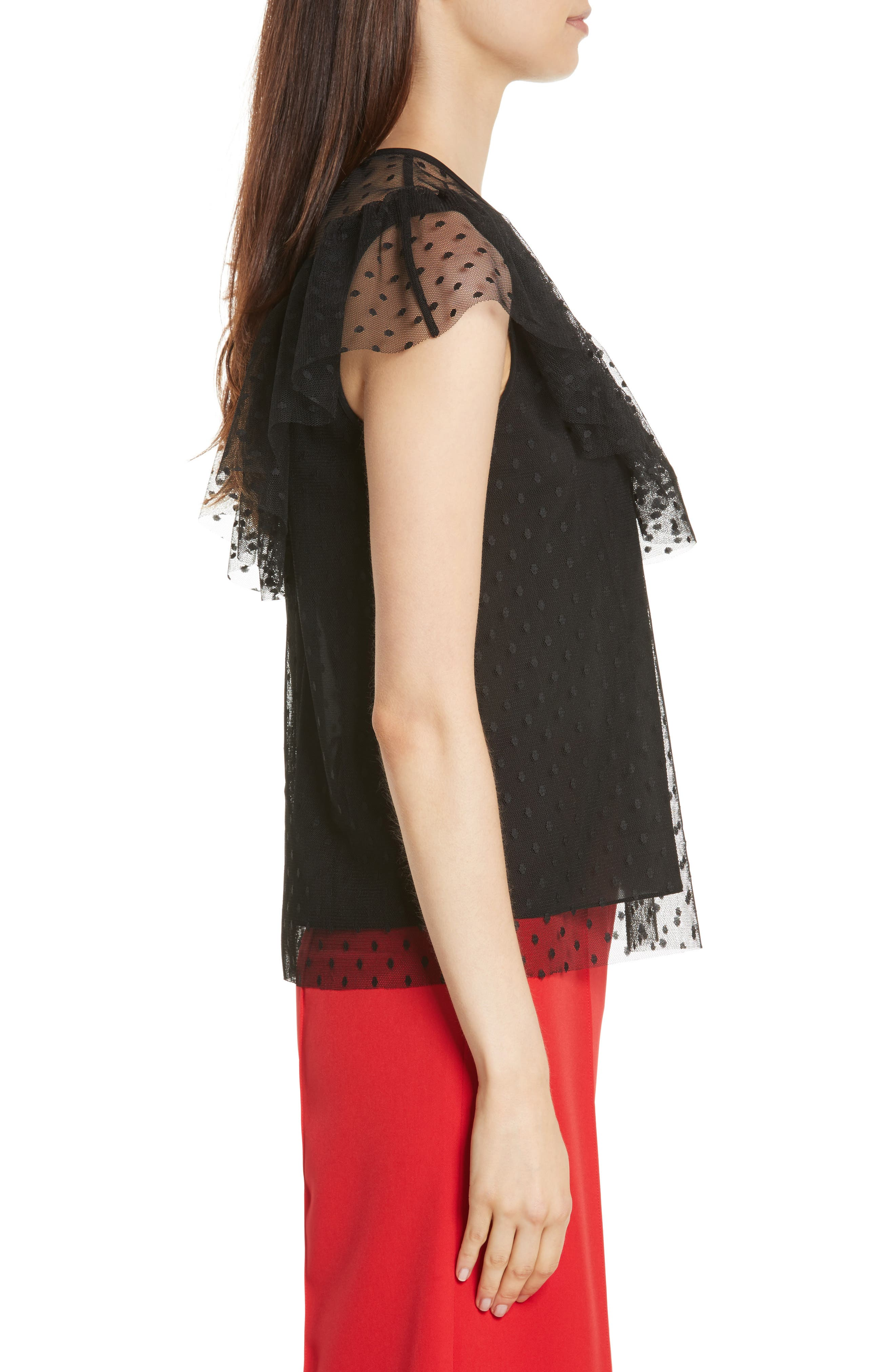 Helena Dot Tulle Top,                             Alternate thumbnail 3, color,