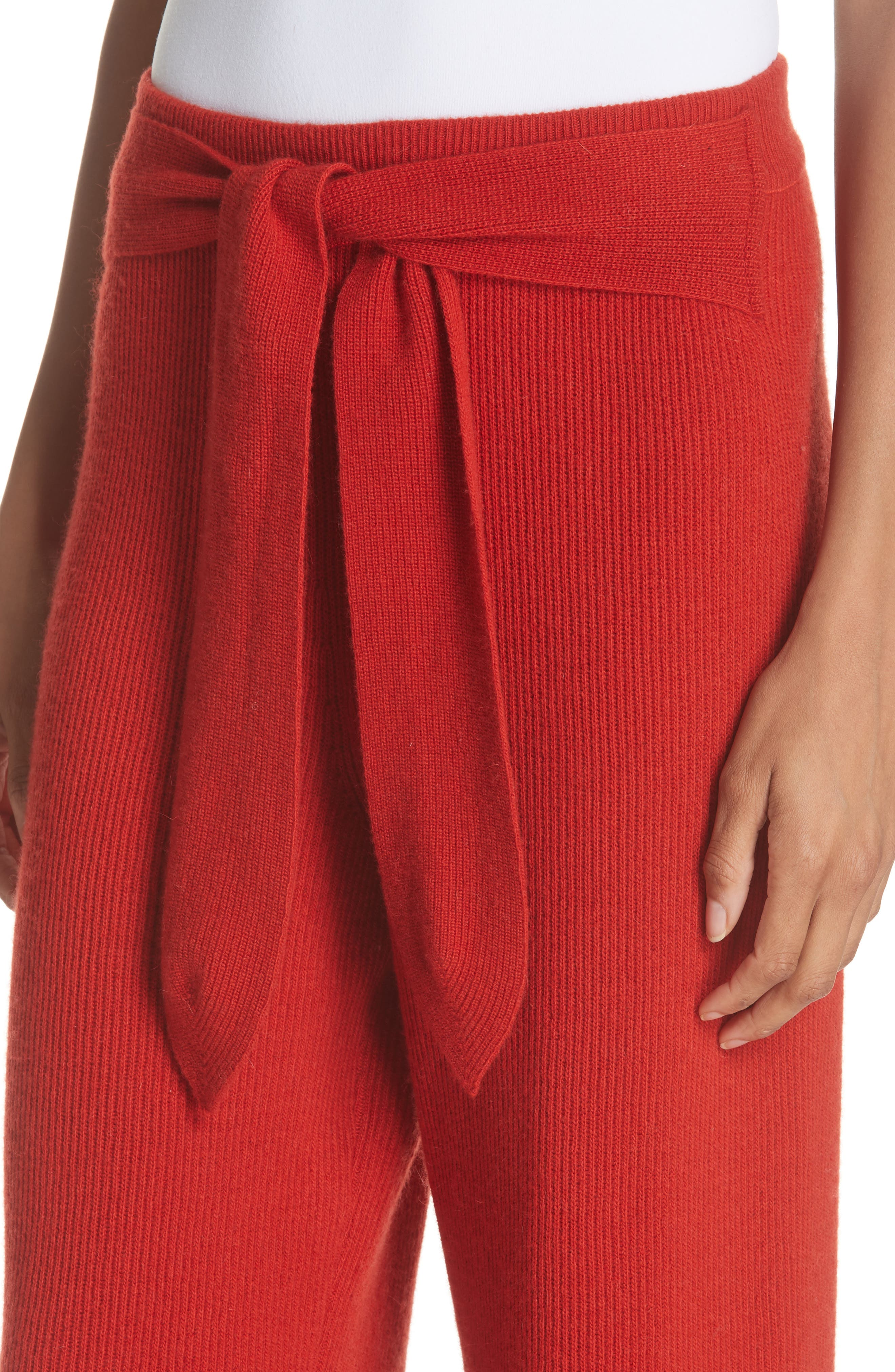 Tigre Merino Wool & Cashmere Blend Pants,                             Alternate thumbnail 4, color,                             RED