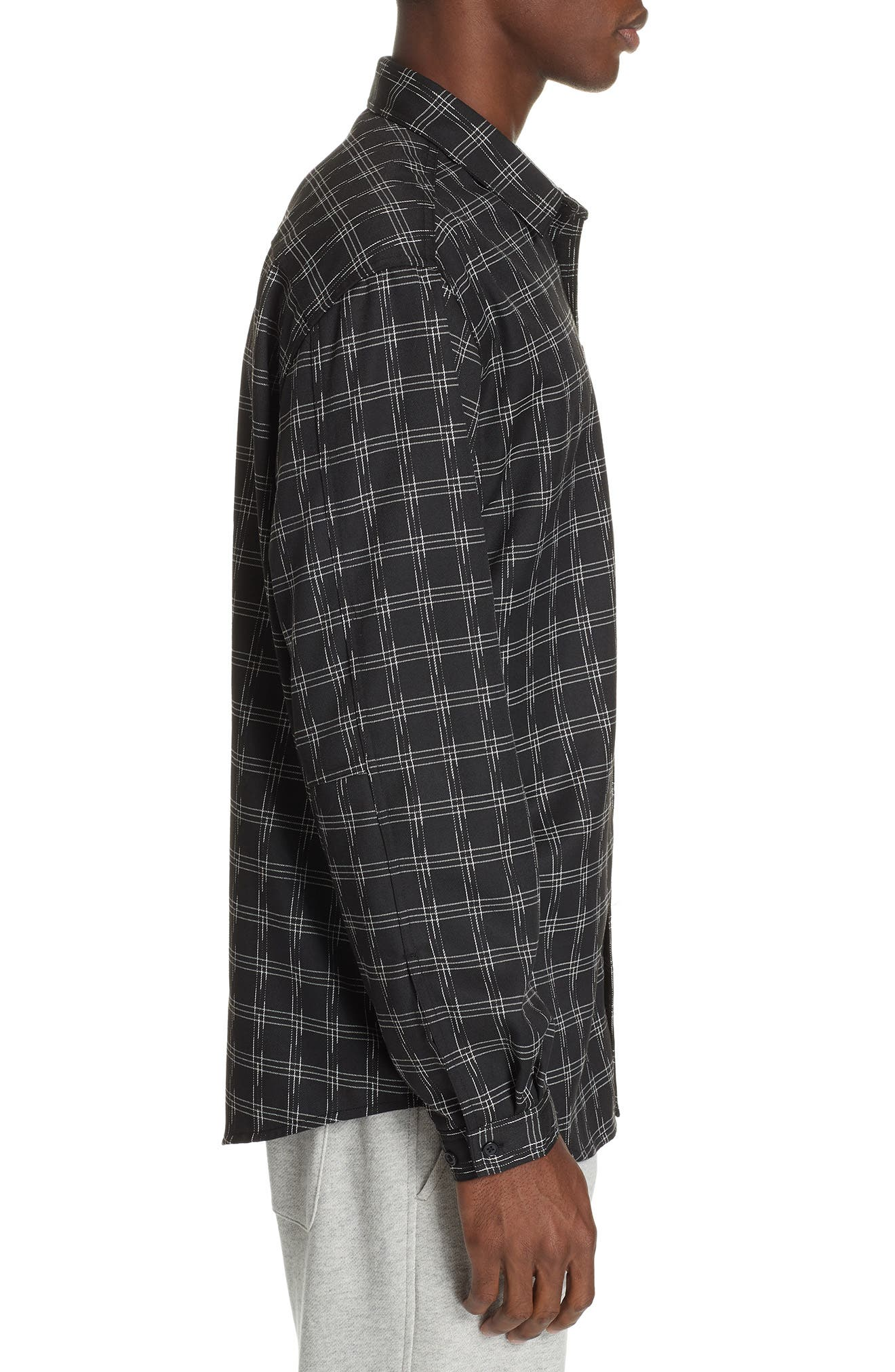 Core Flannel Shirt,                             Alternate thumbnail 4, color,                             BLACK