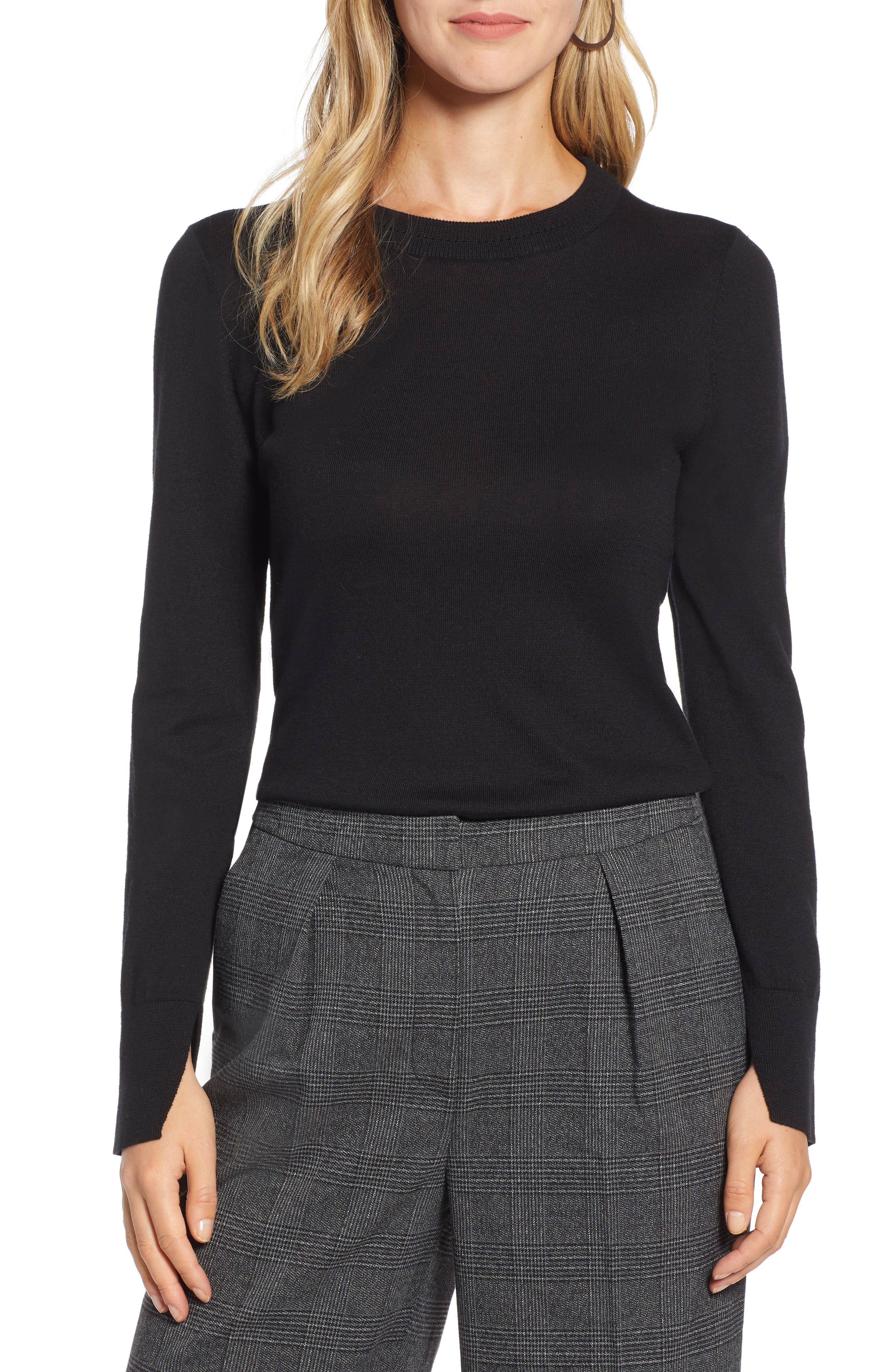 HALOGEN<SUP>®</SUP>,                             Slit Sleeve Sweater,                             Main thumbnail 1, color,                             BLACK