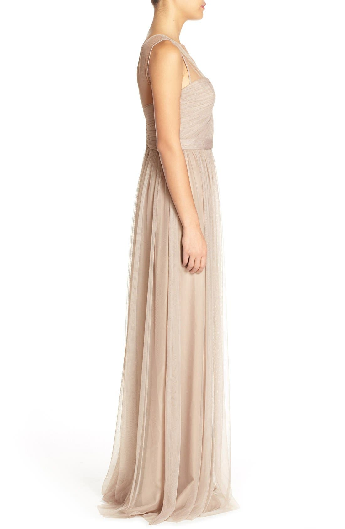 'Alyce' Illusion V-Neck Pleat Tulle Gown,                             Alternate thumbnail 9, color,