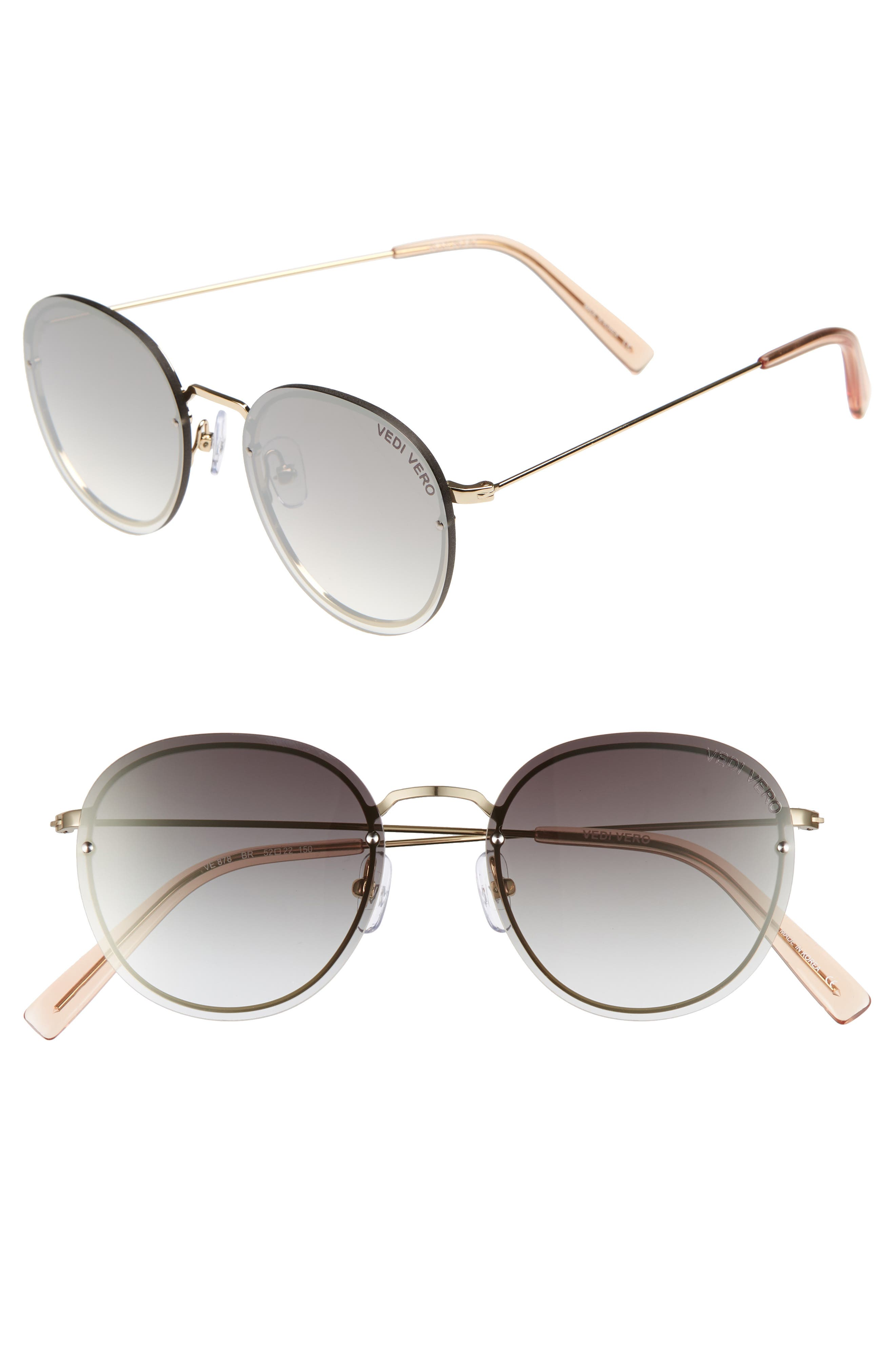 VEDI VERO 52Mm Round Sunglasses - Shiny Gold