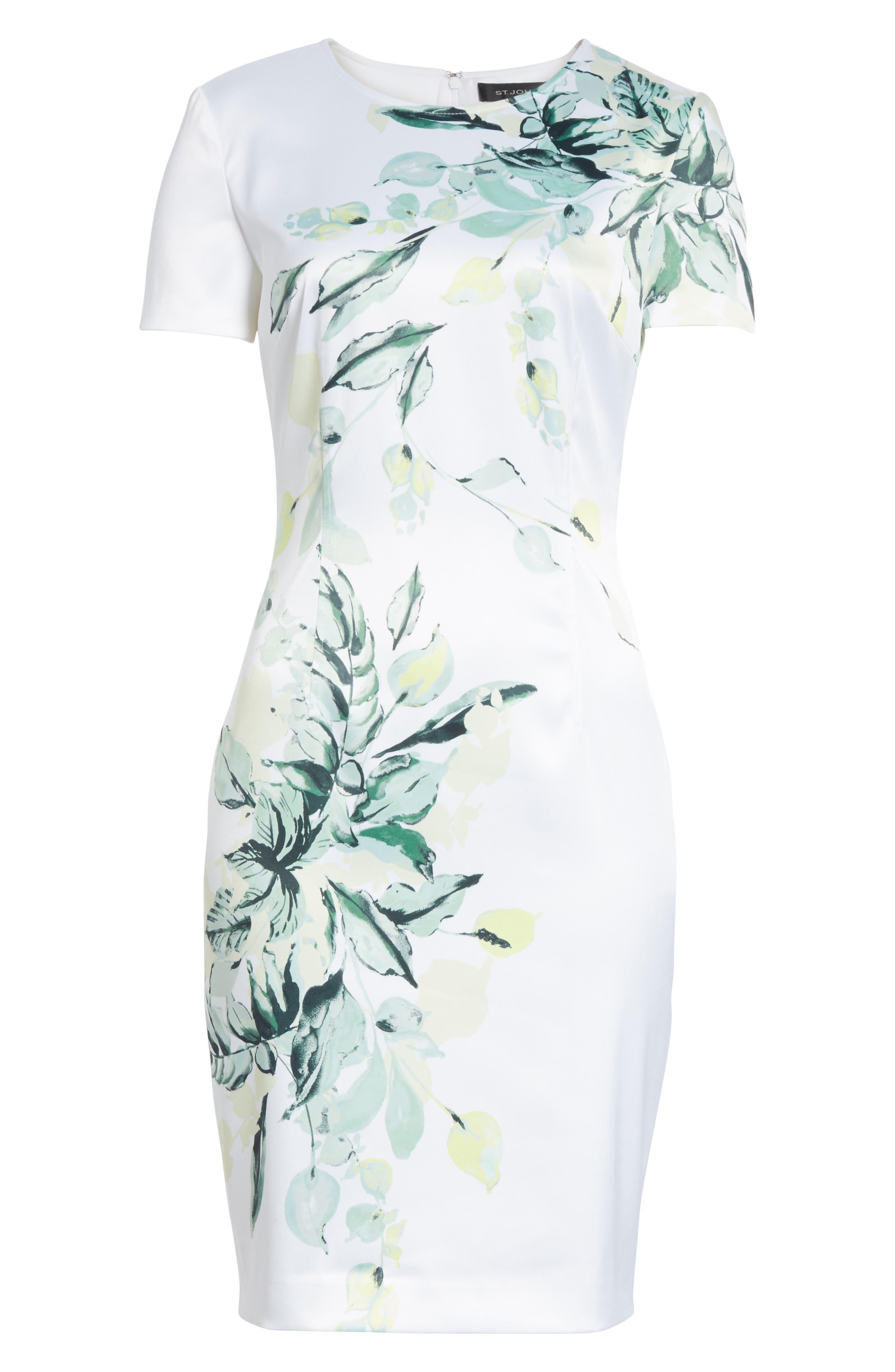 Leaf Print Sheath Dress,                             Alternate thumbnail 6, color,