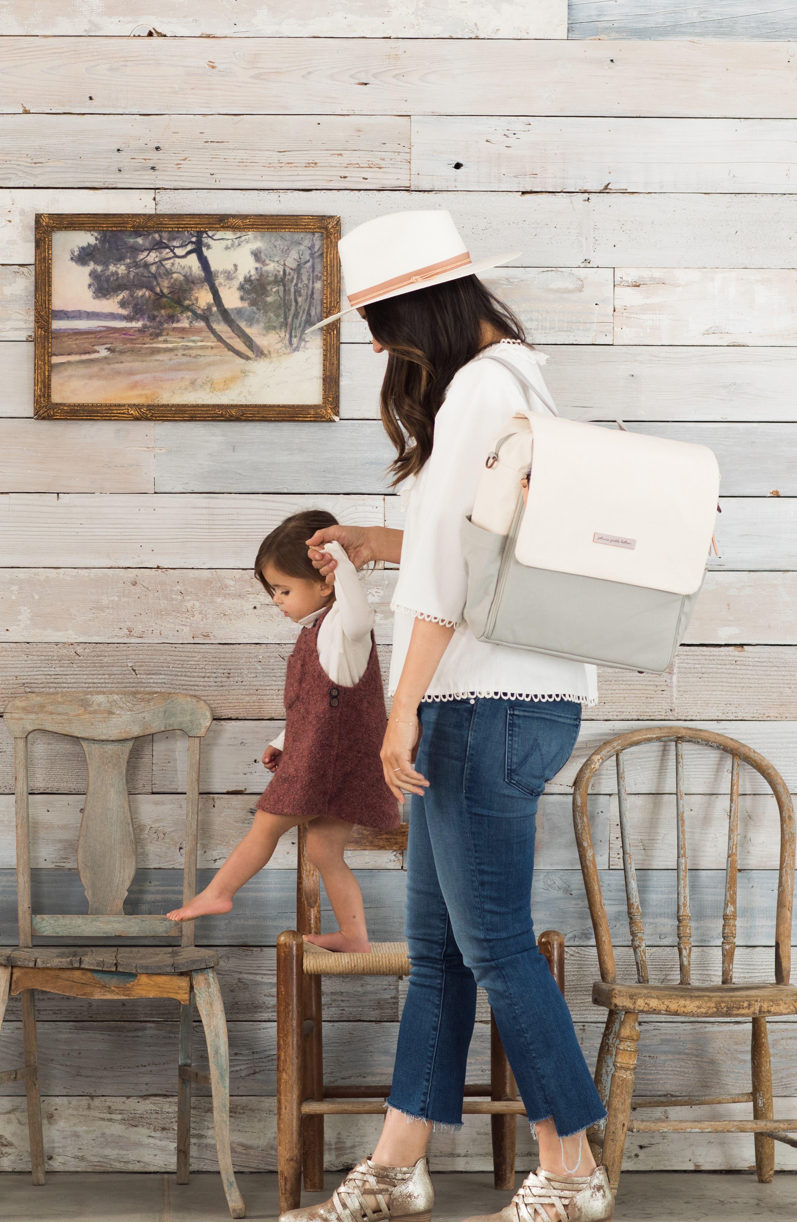 Boxy Backpack Diaper Bag,                             Alternate thumbnail 5, color,                             BIRCH/ STONE