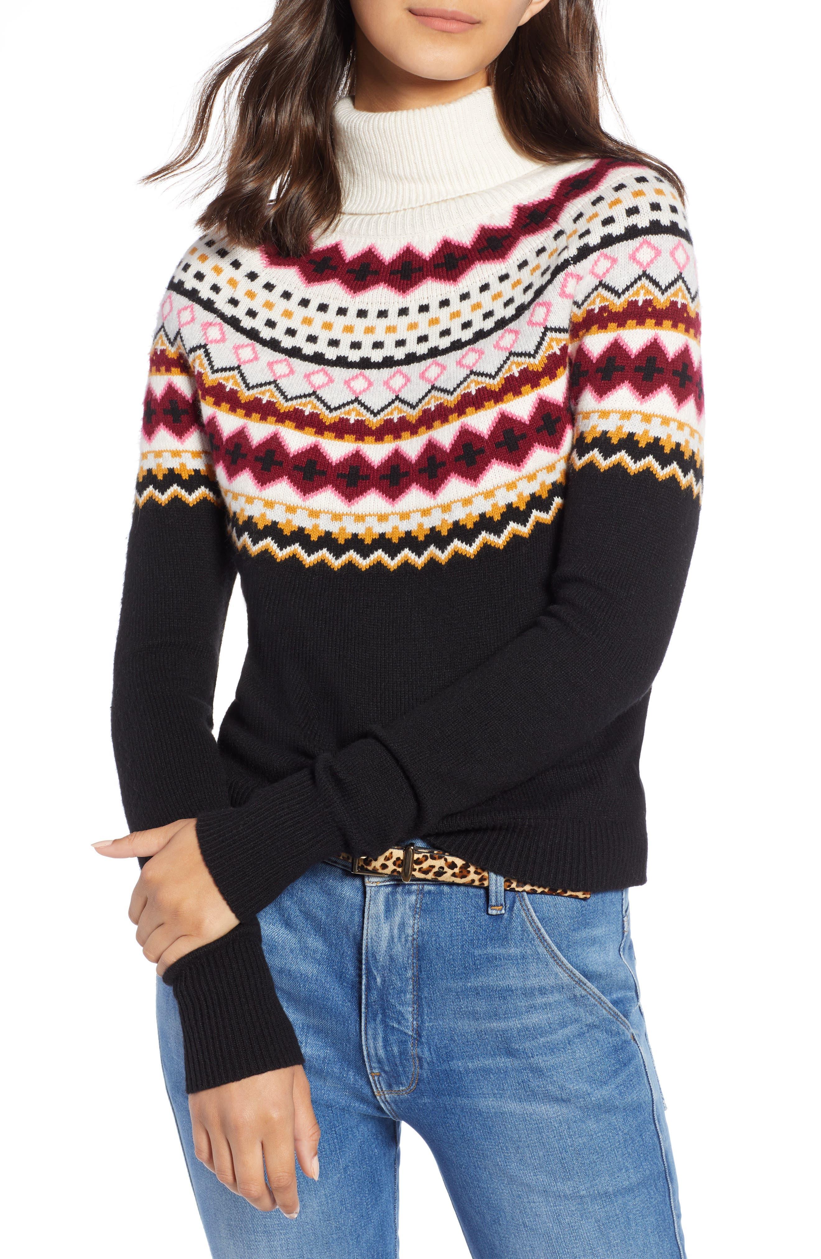 Fair Isle Turtleneck Sweater,                             Main thumbnail 1, color,                             001