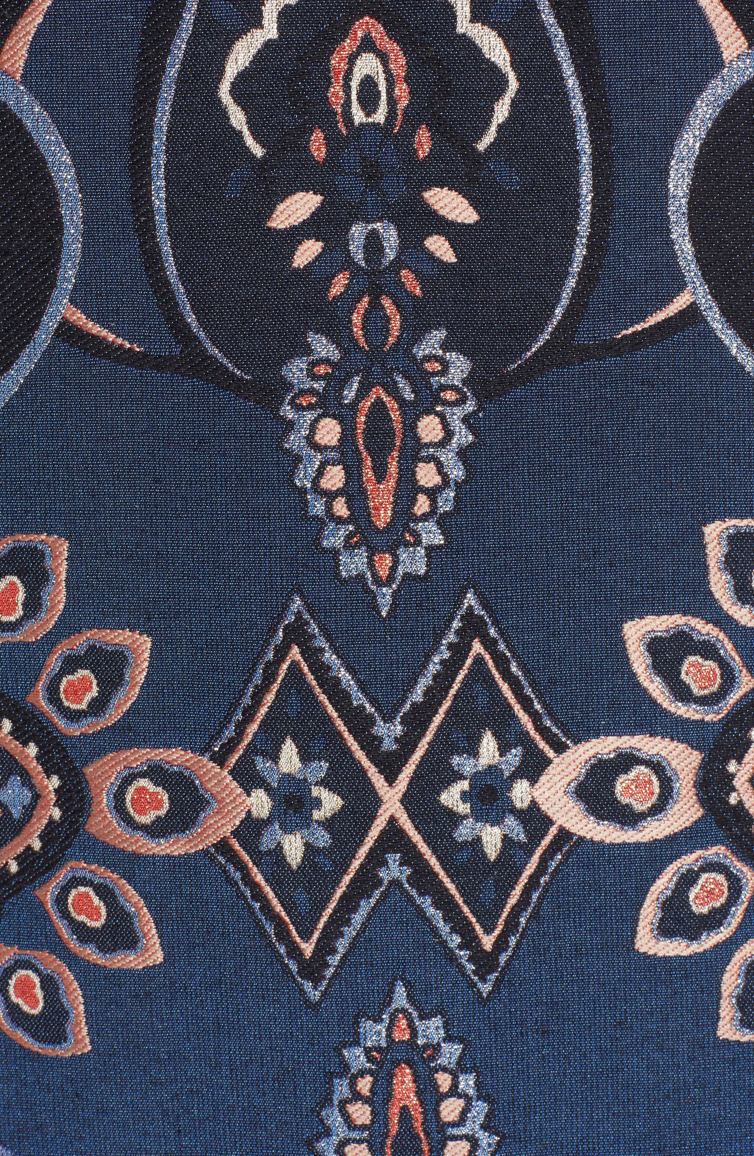 Brocade Shift Dress,                             Alternate thumbnail 6, color,                             NAVY MULTI BROCADE