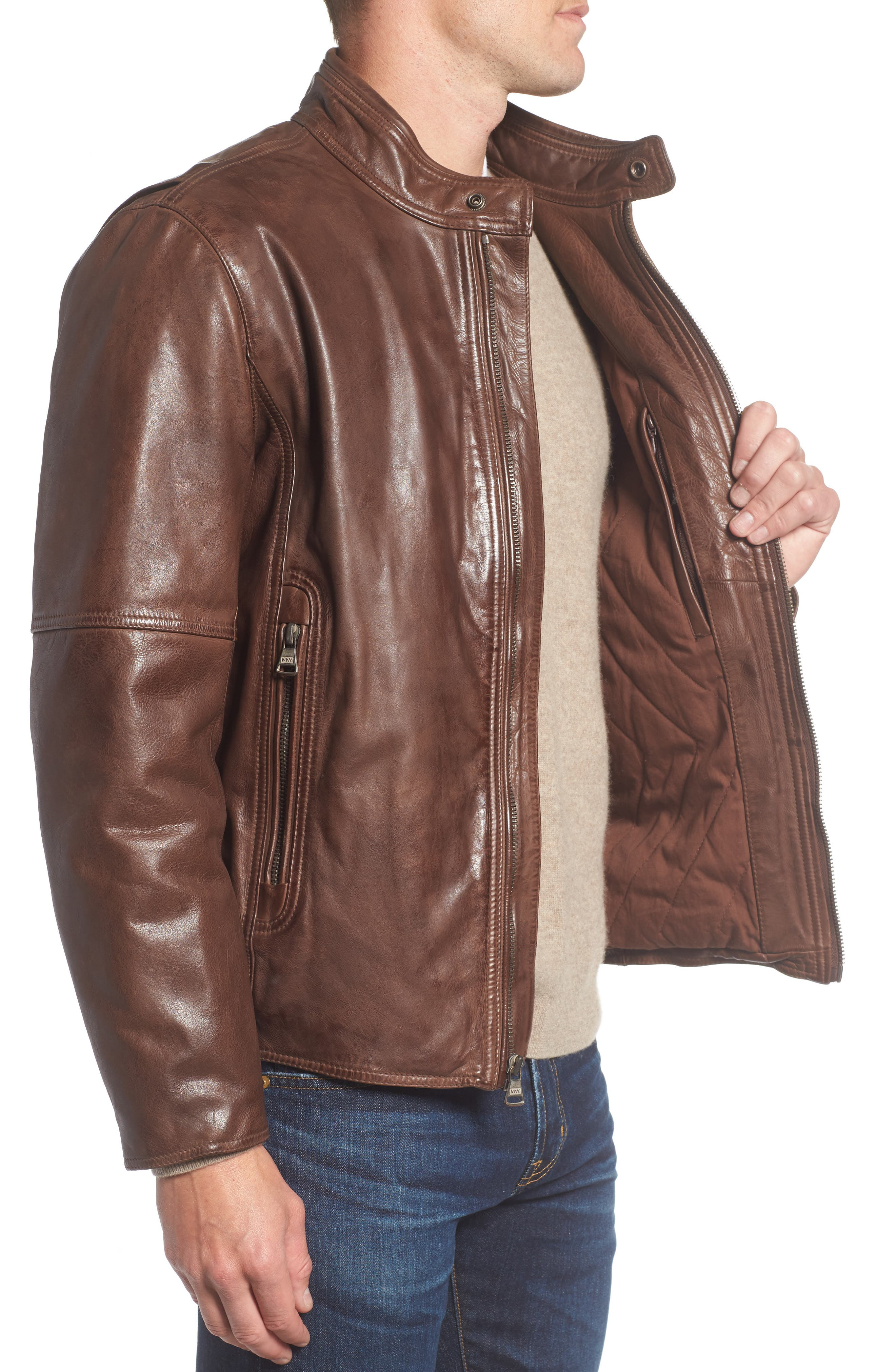 Calfskin Leather Moto Jacket,                             Alternate thumbnail 6, color,