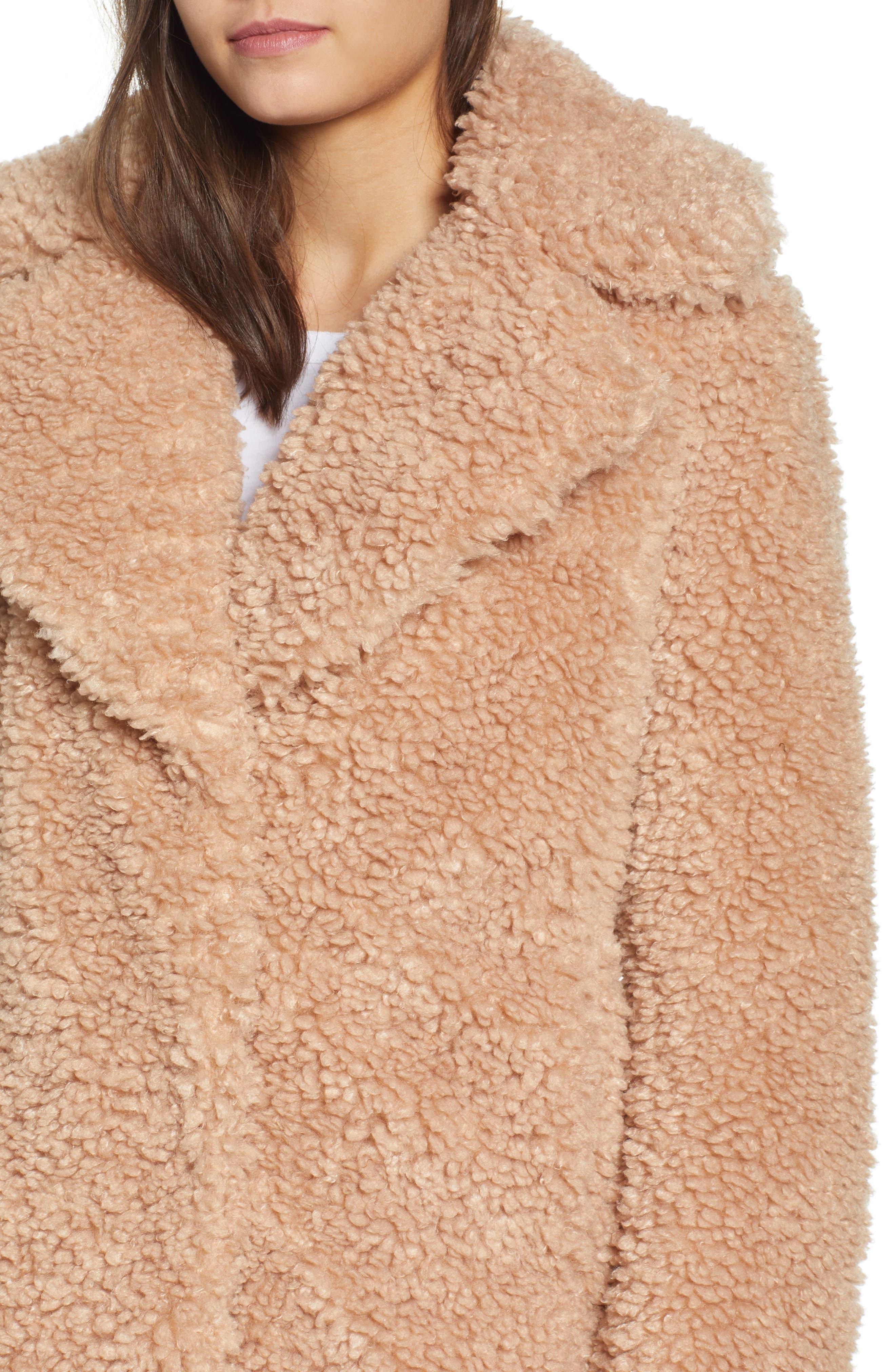 Faux Shearling Coat,                             Alternate thumbnail 4, color,                             NUDE