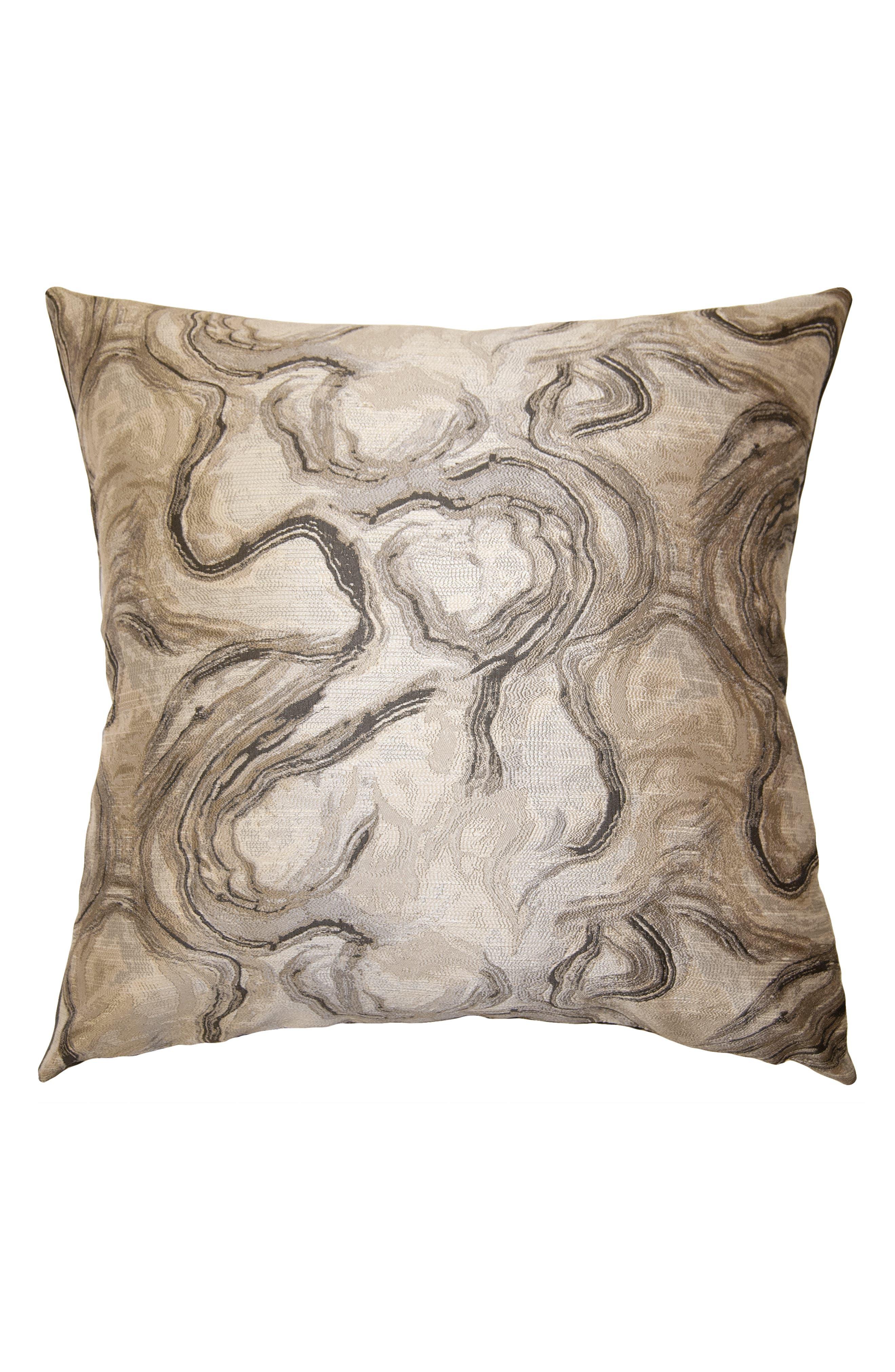 SQUARE FEATHERS Santori Antique Accent Pillow, Main, color, BEIGE