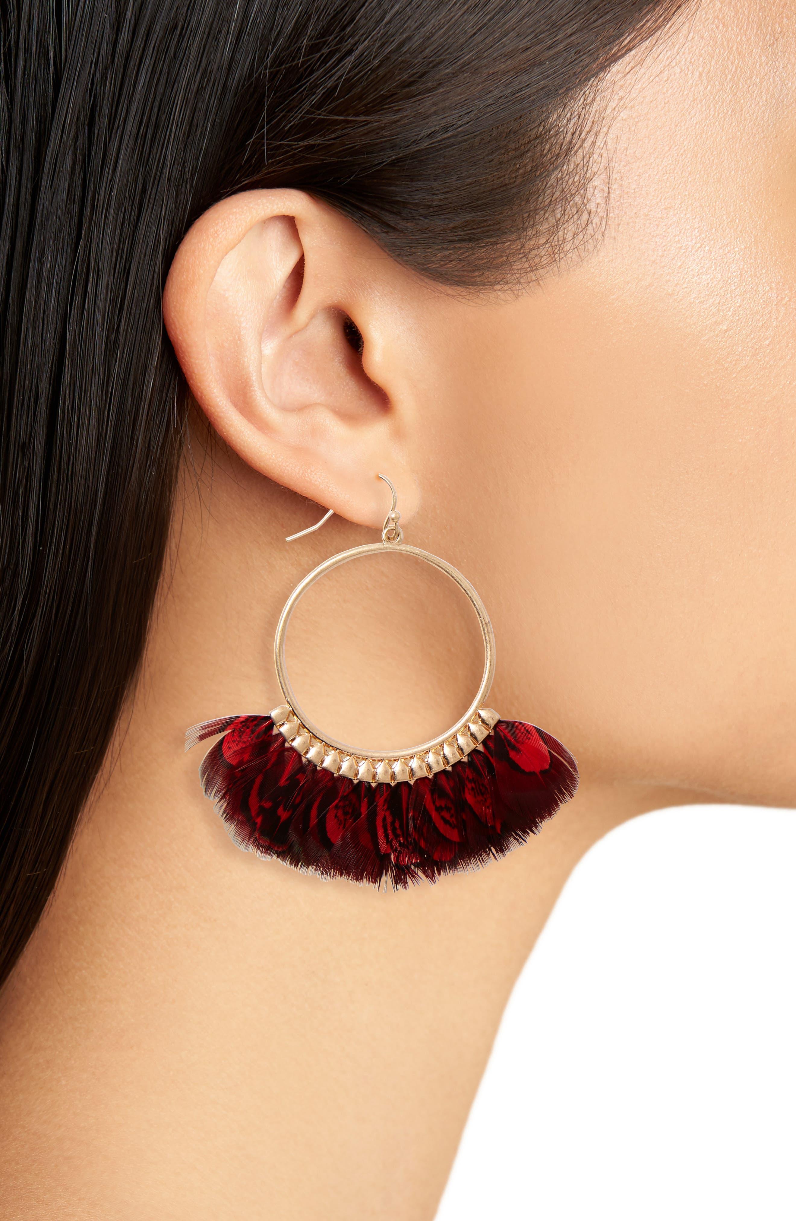 Feather Hoop Earrings,                             Alternate thumbnail 4, color,