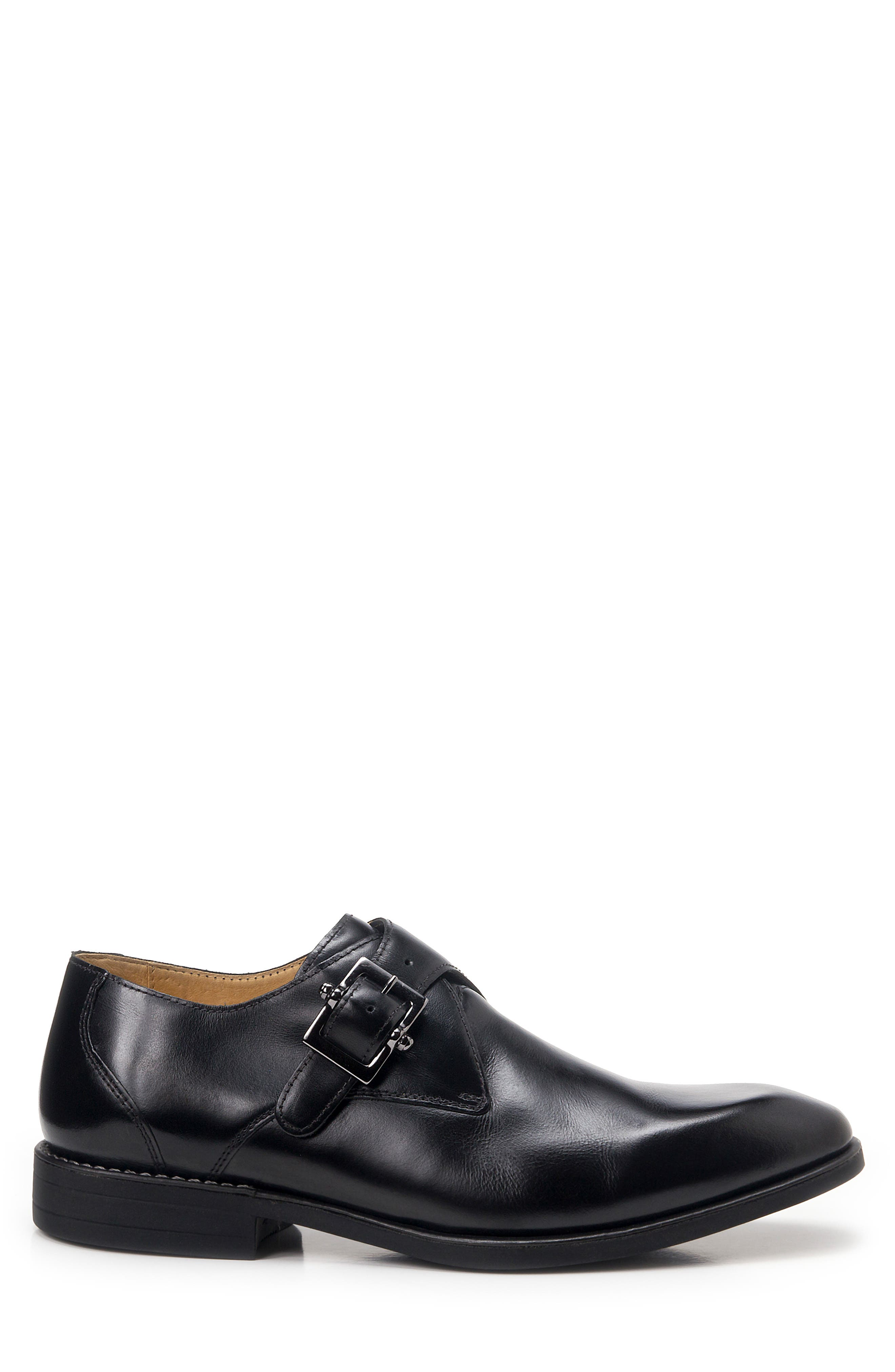 Wendell Single Buckle Monk Shoe,                             Alternate thumbnail 3, color,                             BLACK LEATHER