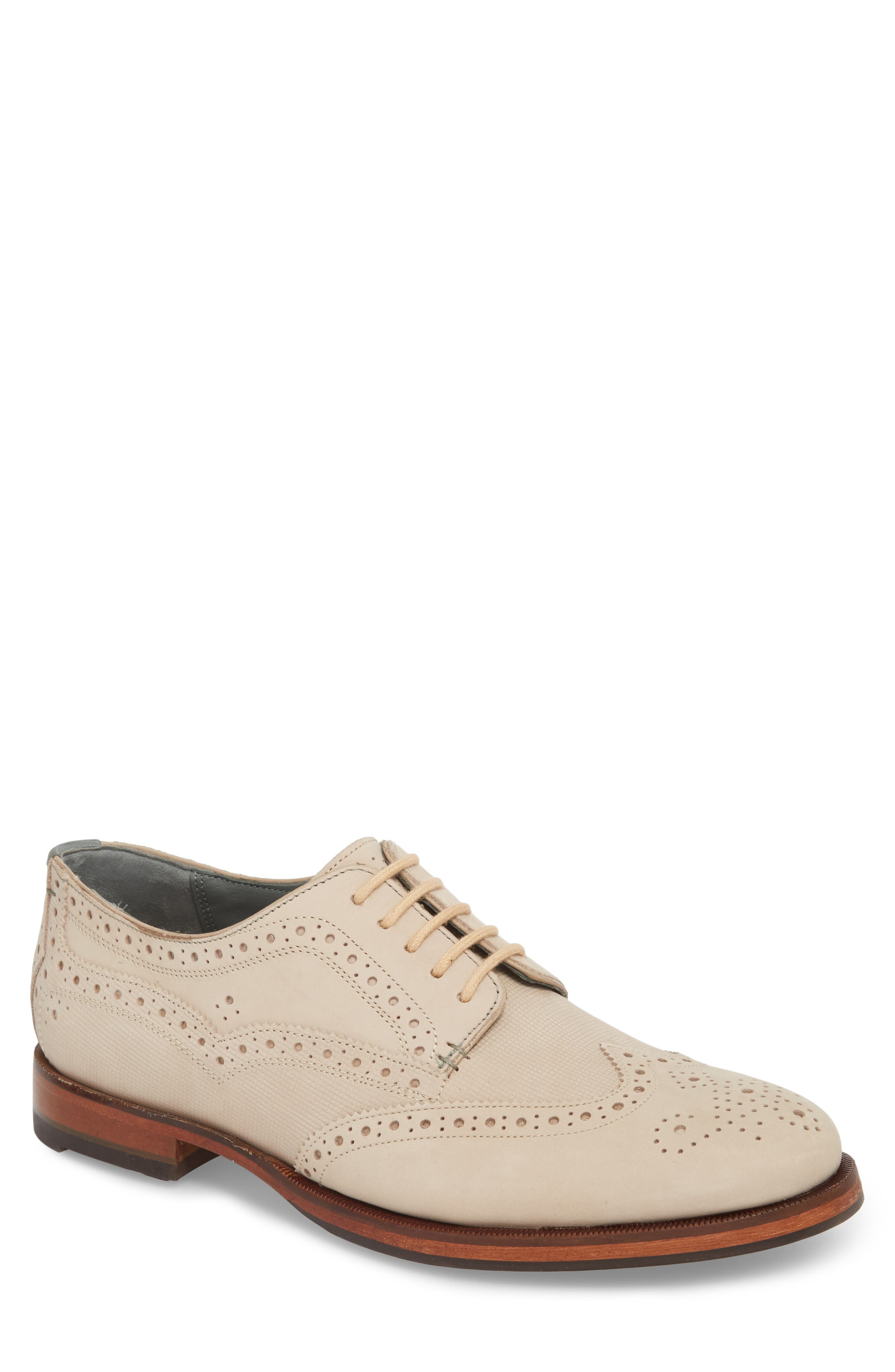 Senapen Wingtip Derby,                             Main thumbnail 1, color,                             LIGHT TAN SUEDE