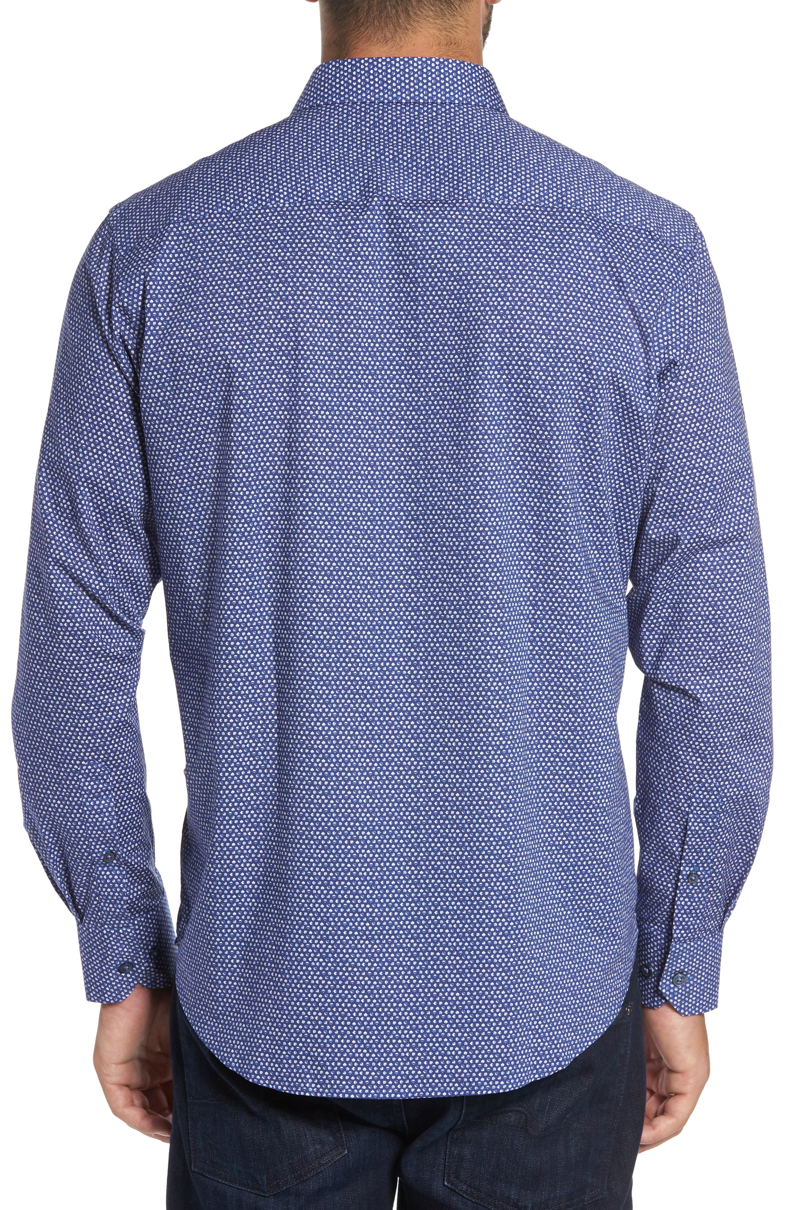 Classic Fit Raindrop Print Sport Shirt,                             Alternate thumbnail 2, color,                             513
