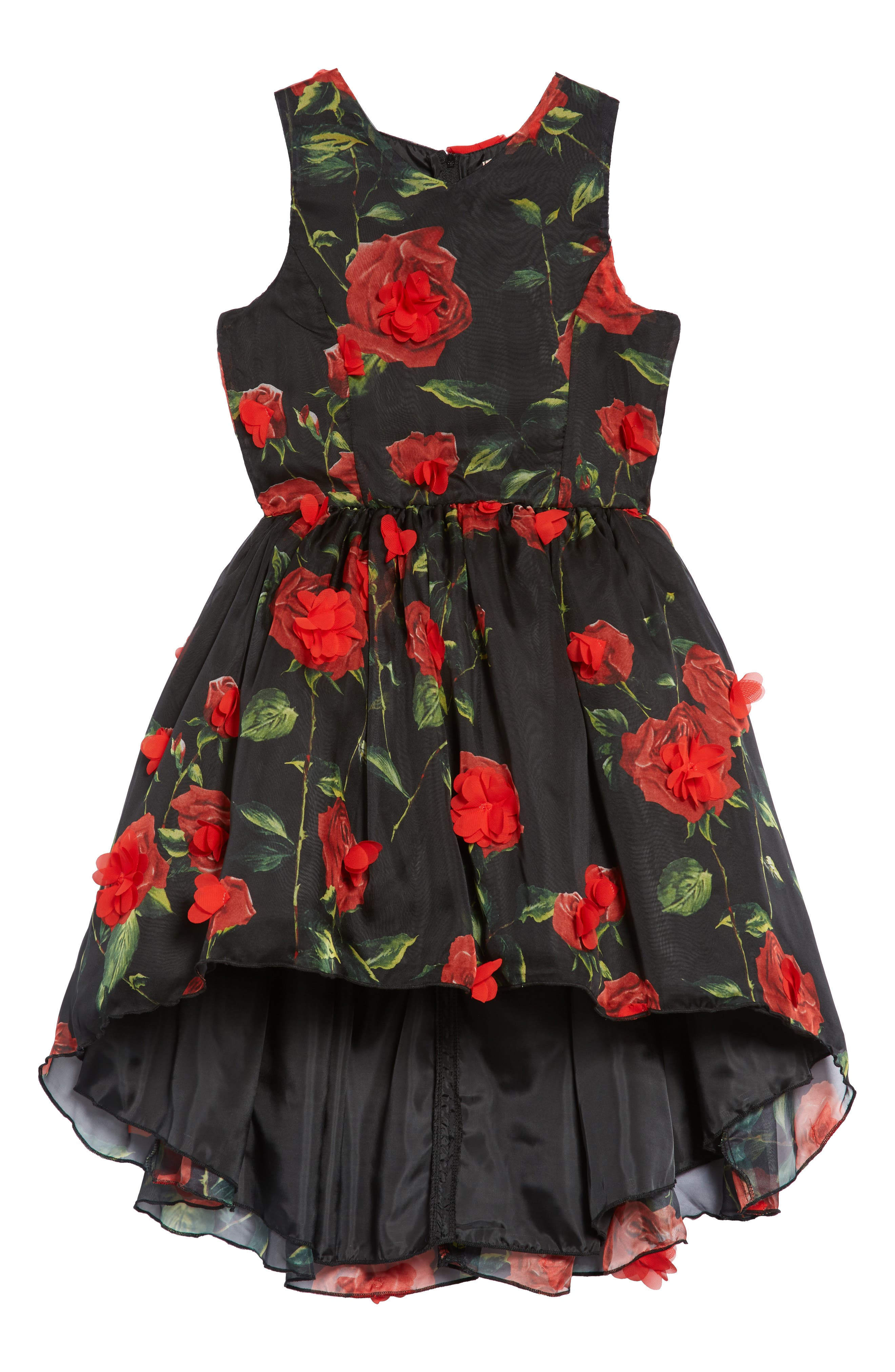 Floral High/Low Fit & Flare Dress,                             Main thumbnail 1, color,                             001