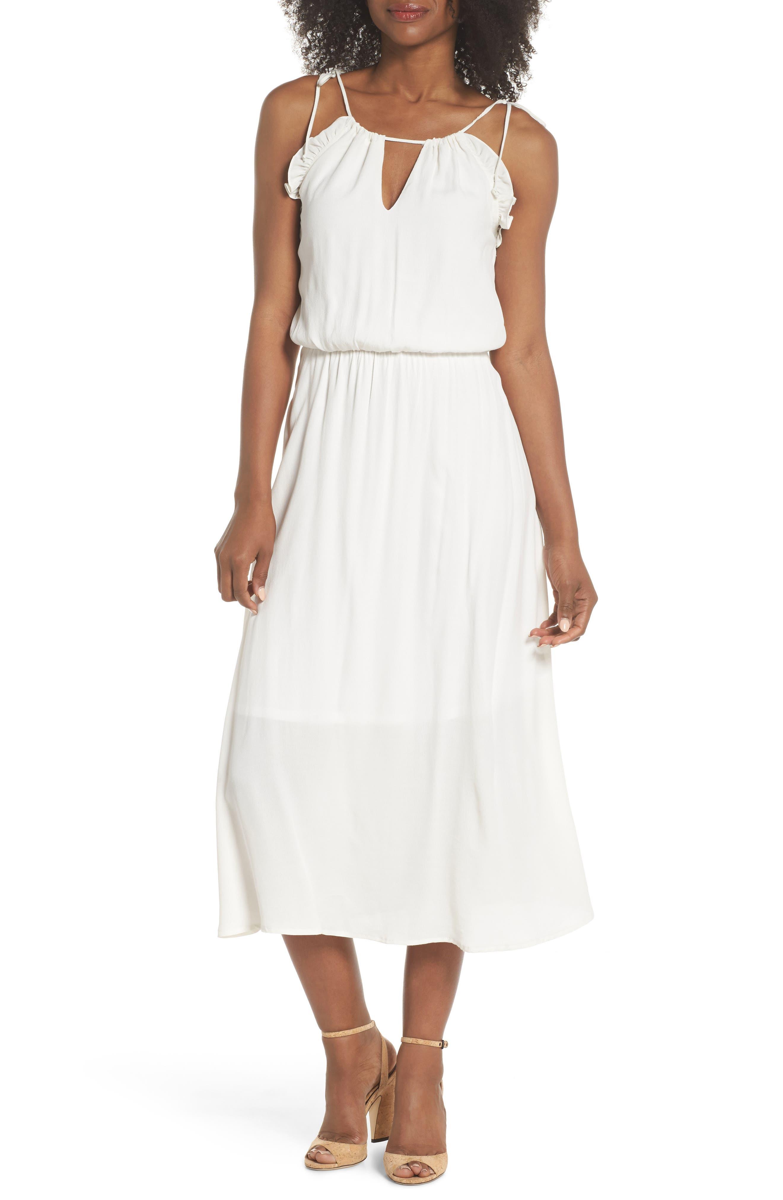 Ruffle Midi Dress,                         Main,                         color, OFF WHITE