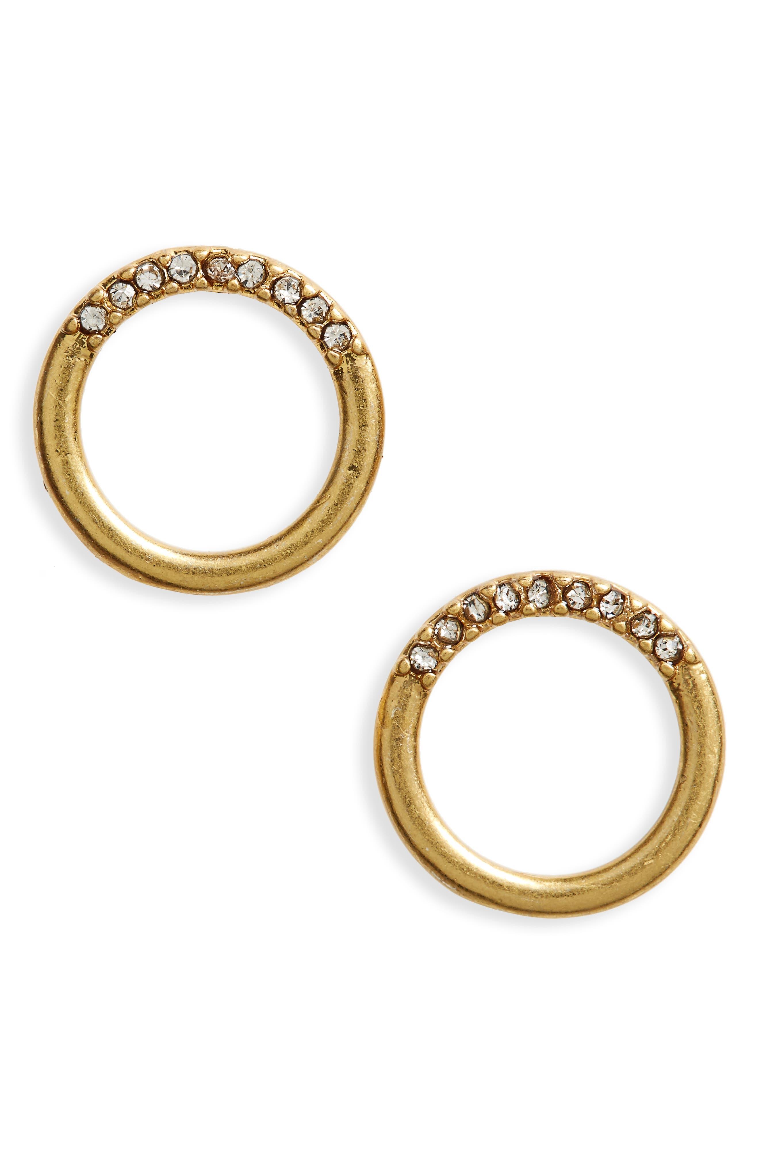 Pavé Circle Stud Earrings,                         Main,                         color, 711