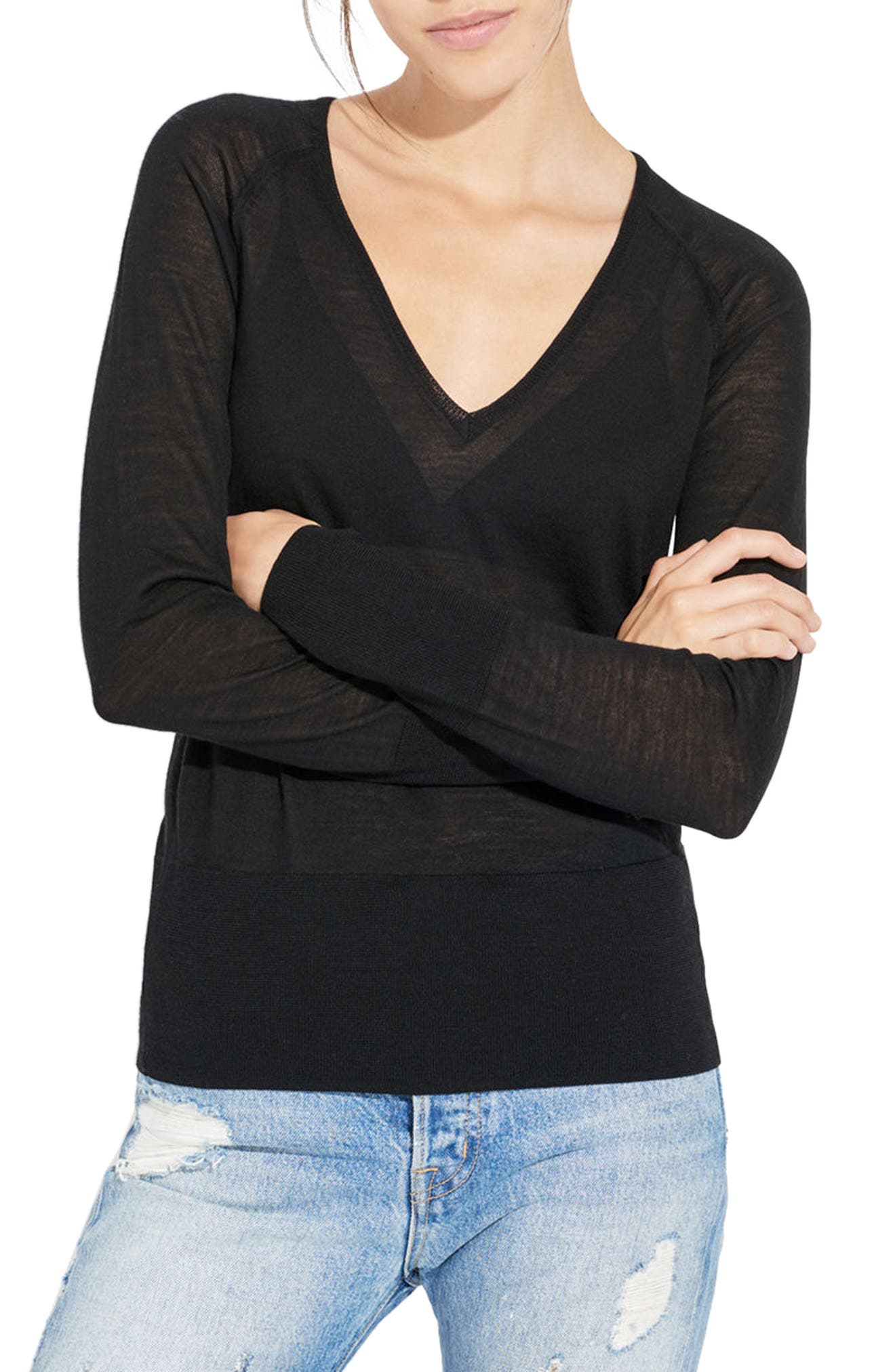 AYR The Slice Merino Wool Sweater, Main, color, 001