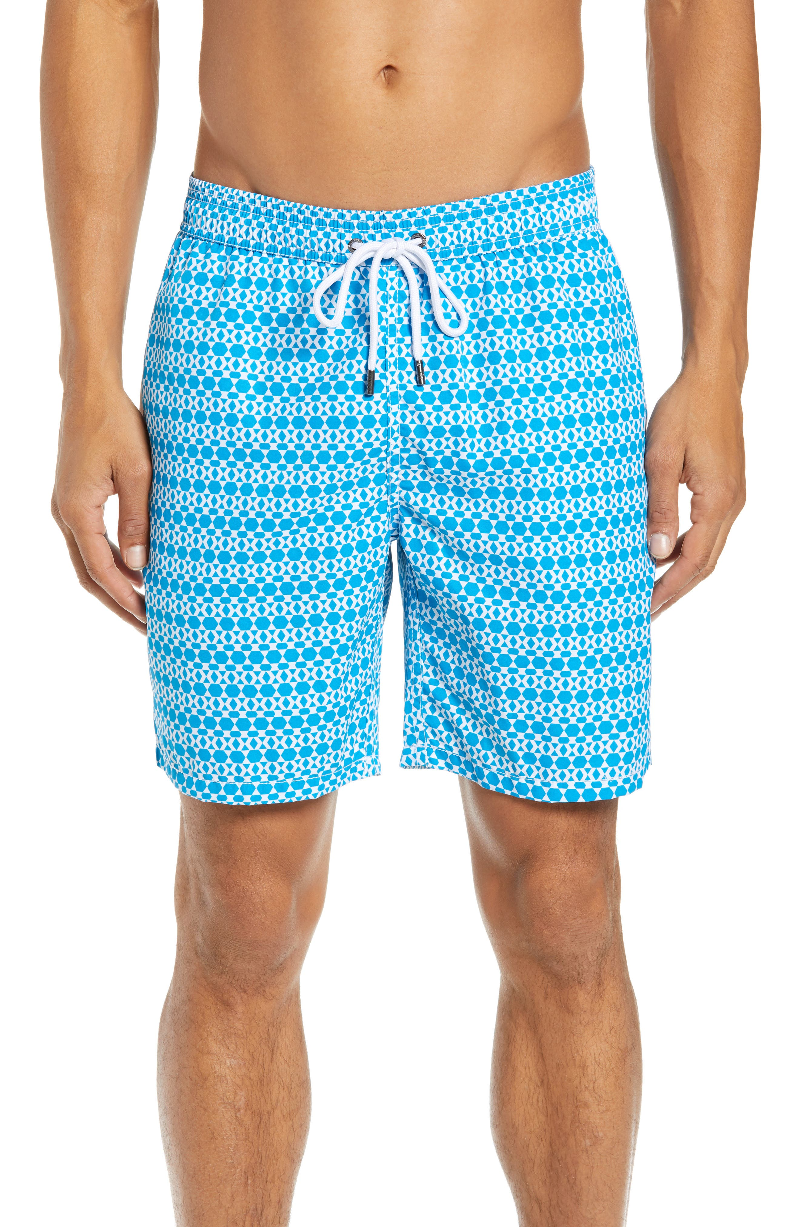 Mr. Swim Hexagon Stripe Swim Trunks,                         Main,                         color, NAVY