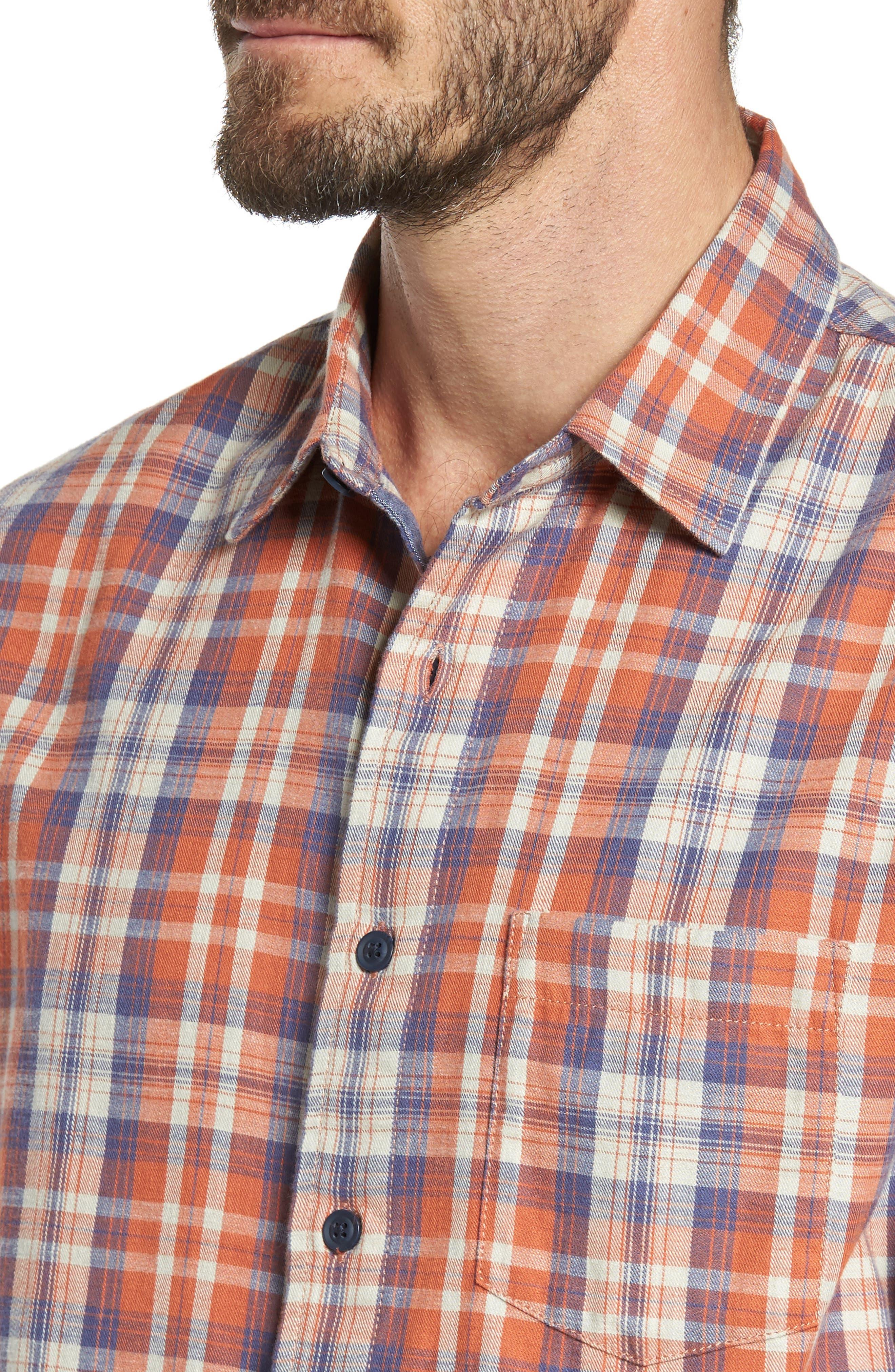 Scottsdale Slim Fit Plaid Slub Twill Sport Shirt,                             Alternate thumbnail 4, color,                             840