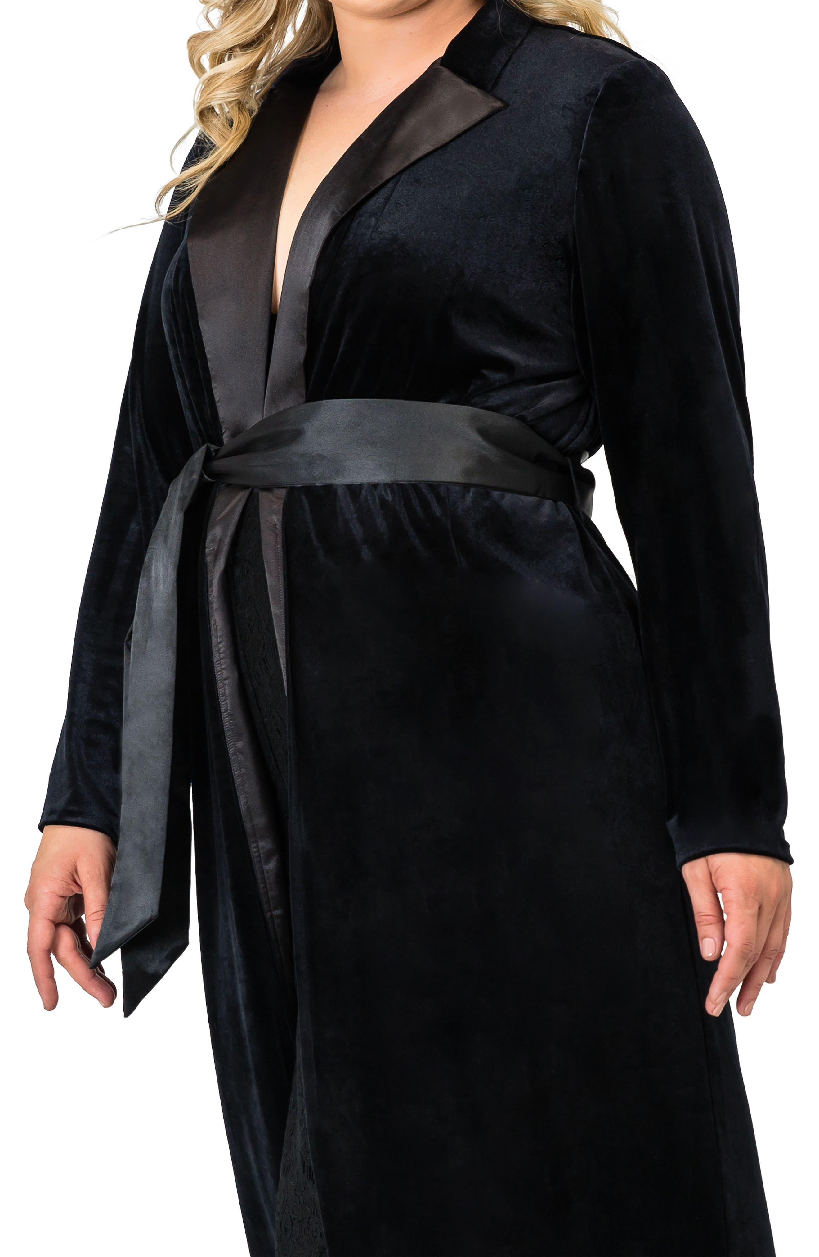 STANDARDS & PRACTICES,                             Freya Wrap Coat Dress,                             Alternate thumbnail 4, color,                             BLACK