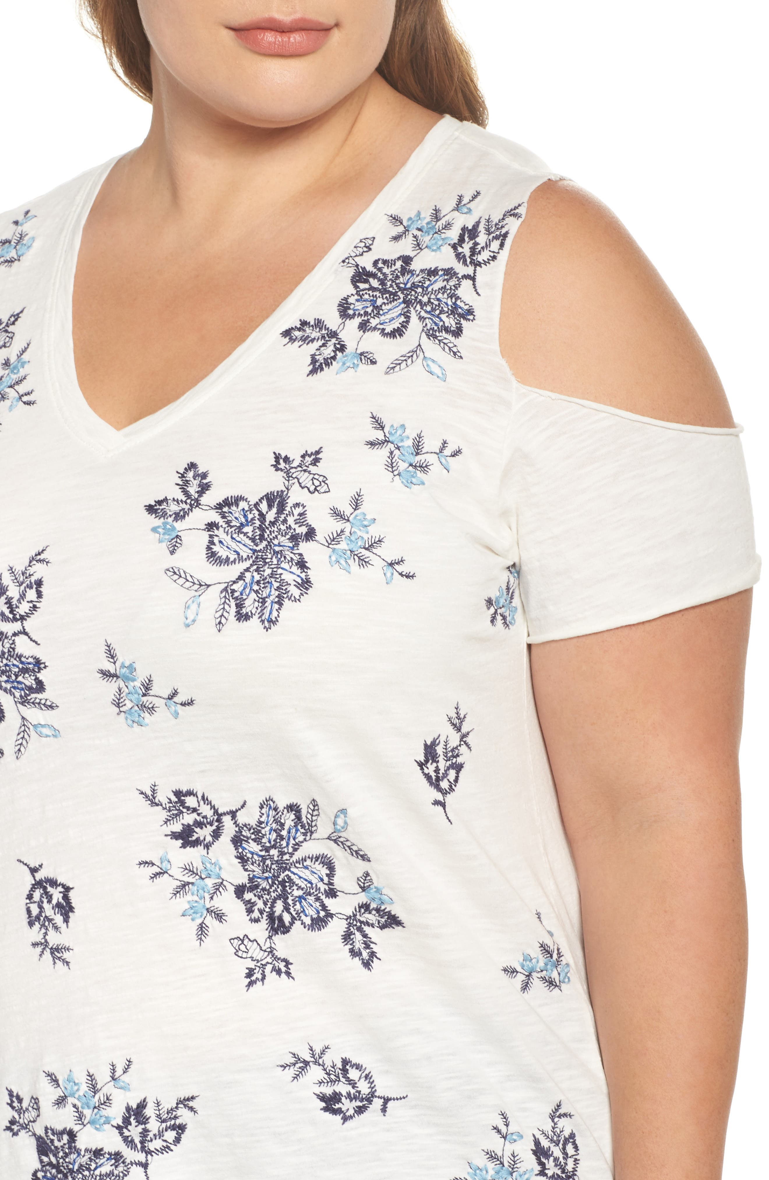 Embroidered Cold Shoulder Tee,                             Alternate thumbnail 4, color,
