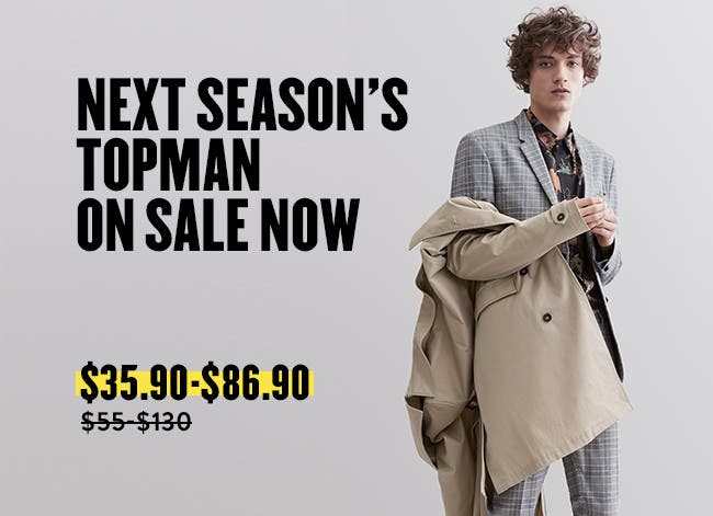 Next season's Topman is on sale now.